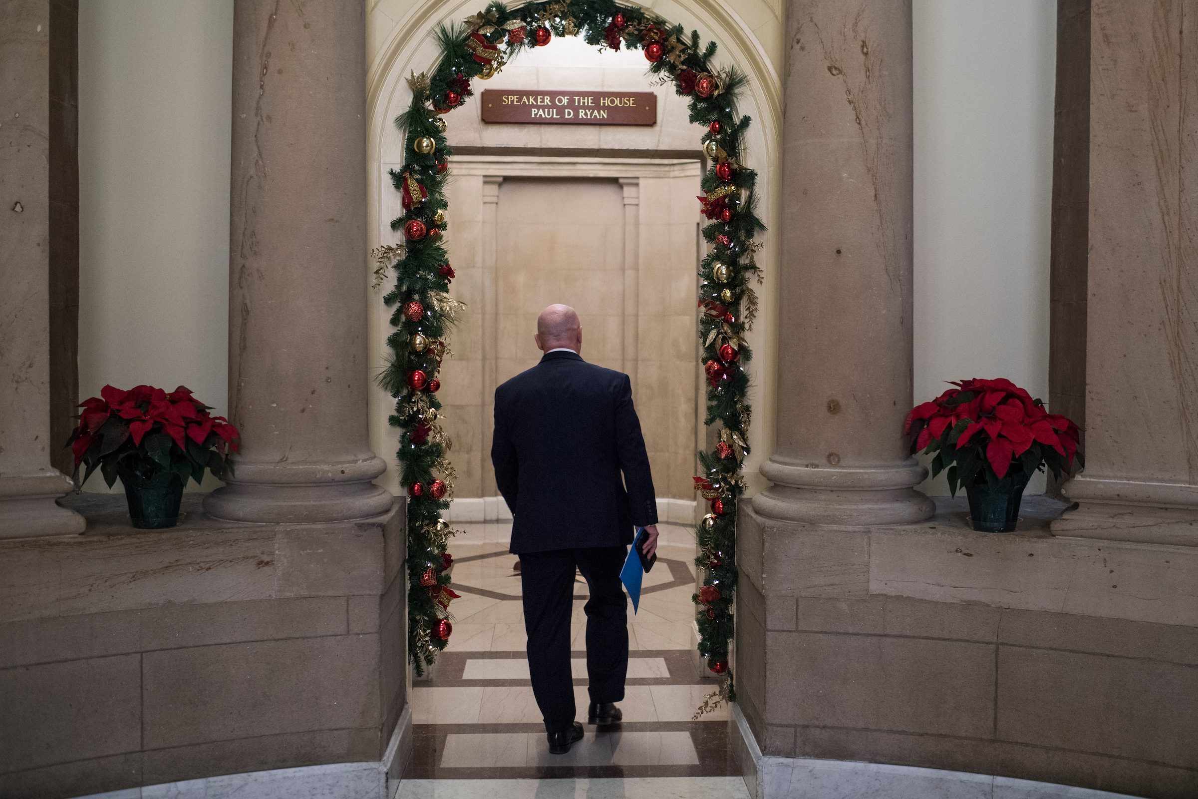 Rep. Kevin Brady, R-Texas, makes his way to a meeting in the Speaker's office in the Capitol on Wednesday. (Tom Williams/CQ Roll Call)