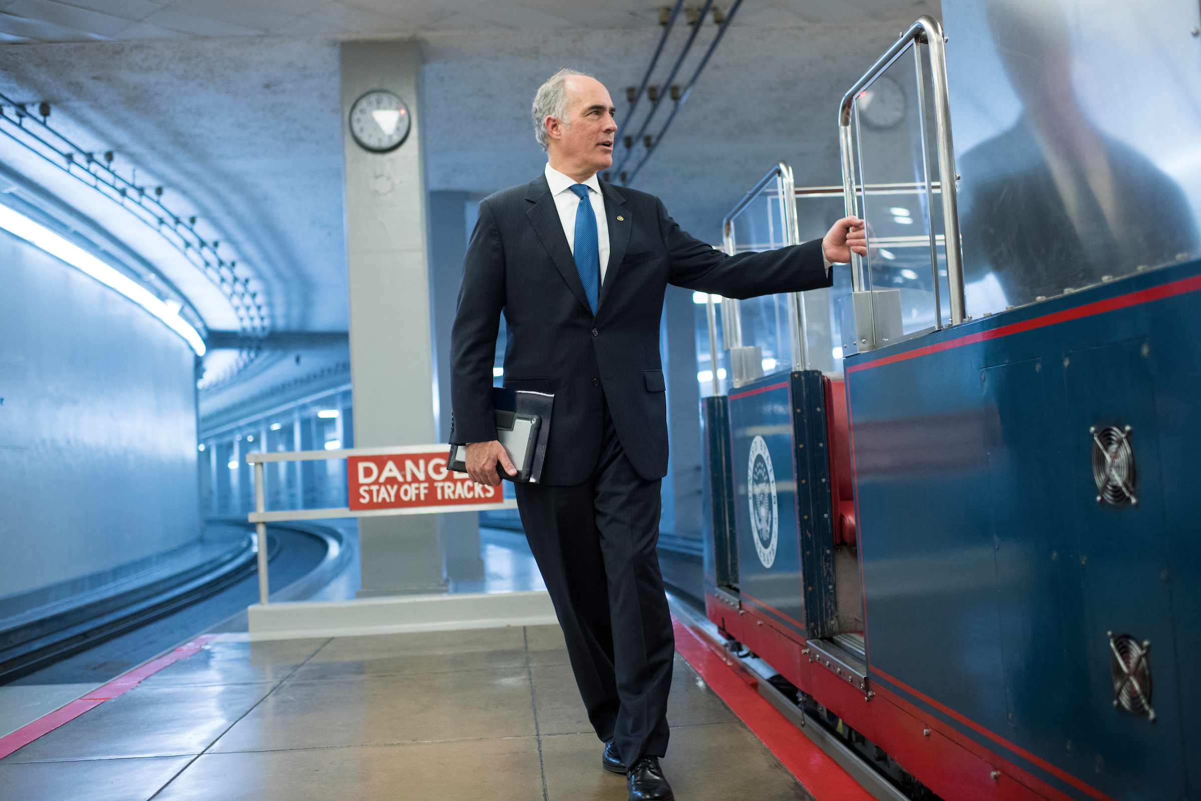 UNITED STATES - DECEMBER 05: Sen. Bob Casey, D-Pa, arrives in the Capitol before the Senate Policy luncheons on December 5, 2017. (Photo By Tom Williams/CQ Roll Call)
