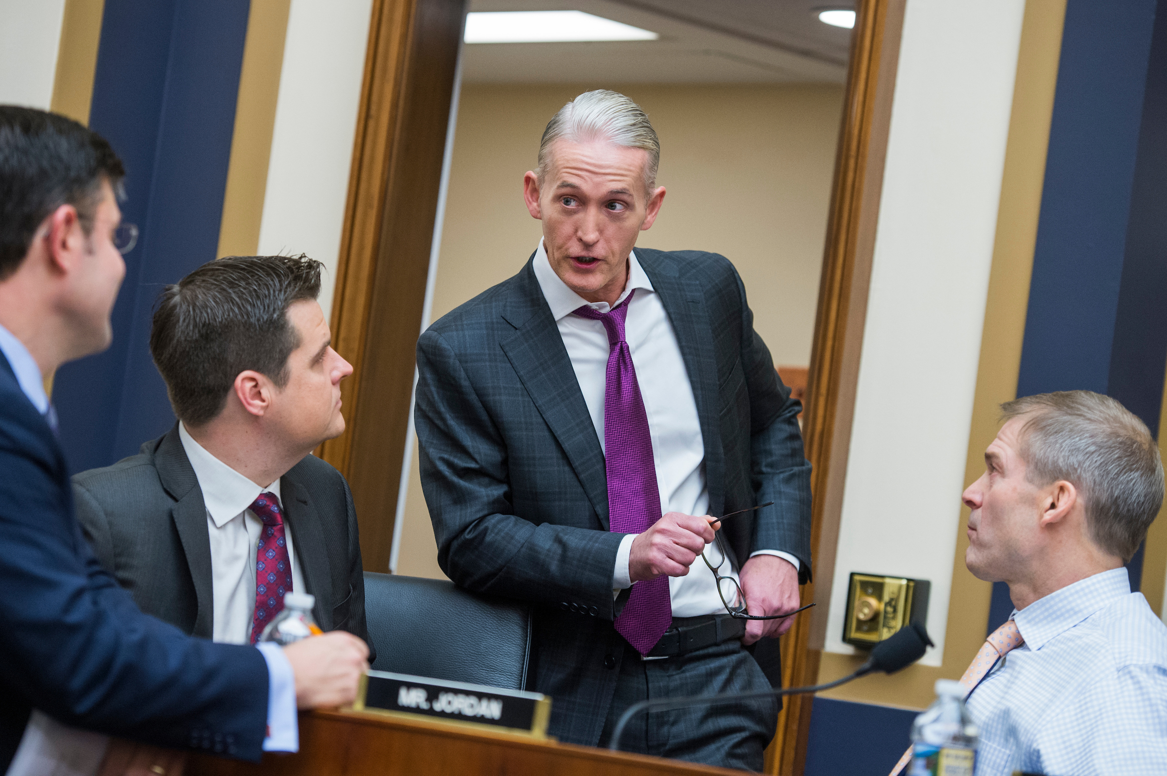 From left, Reps. Mike Johnson, R-La., Matt Gaetz, R-Fla., Trey Gowdy, R-S.C., and Jim Jordan, R-Ohio, attend a House Judiciary Committee hearing in Rayburn Building on the Justice Department's investigation of Russia's interference in the 2016 election featuring testimony by Deputy Attorney General Rod Rosenstein on December 13, 2017. (Photo By Tom Williams/CQ Roll Call)