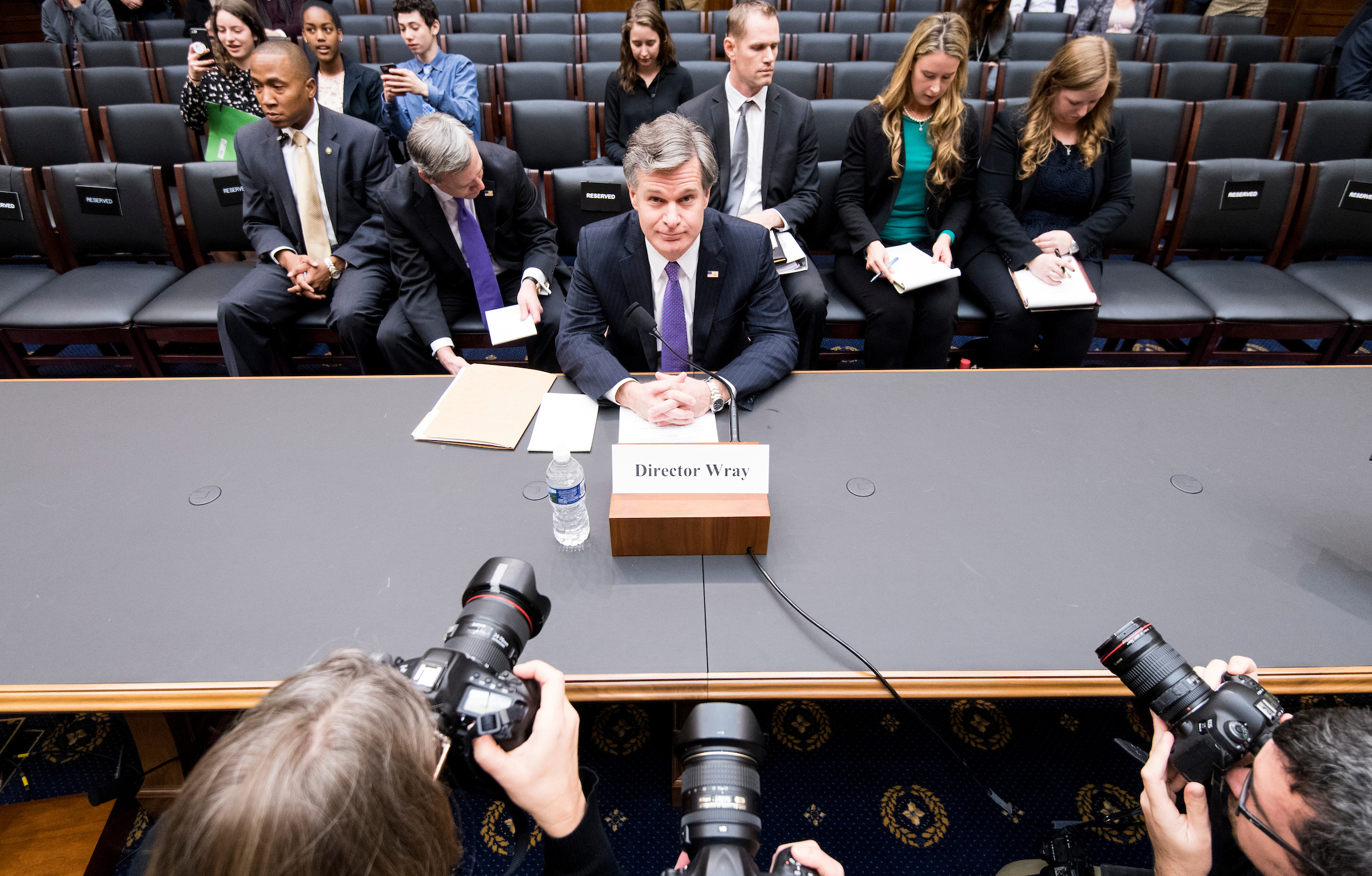 UNITED STATES - DECEMBER 7: FBI Director, Christopher Wray testifies during the House Judiciary Committee hearing on oversight of the Federal Bureau of Investigation on Thursday, Dec. 7, 2017. (Photo By Bill Clark/CQ Roll Call)