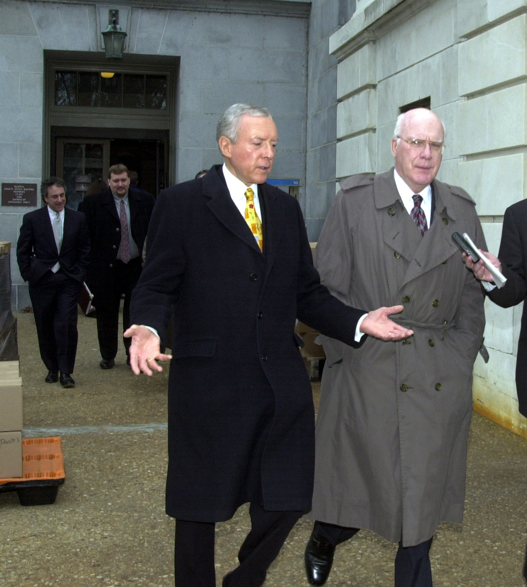 1Appeal120100 -- Orrin G. Hatch, R-Utah, and Patrick J. Leahy, D-Vt., walk from the Russell Senate Office Building to the Supreme Court were the Bush appeal of the Florida recount was underway. Senators Hatch and Leahy were on there way to do T.V. interviews.