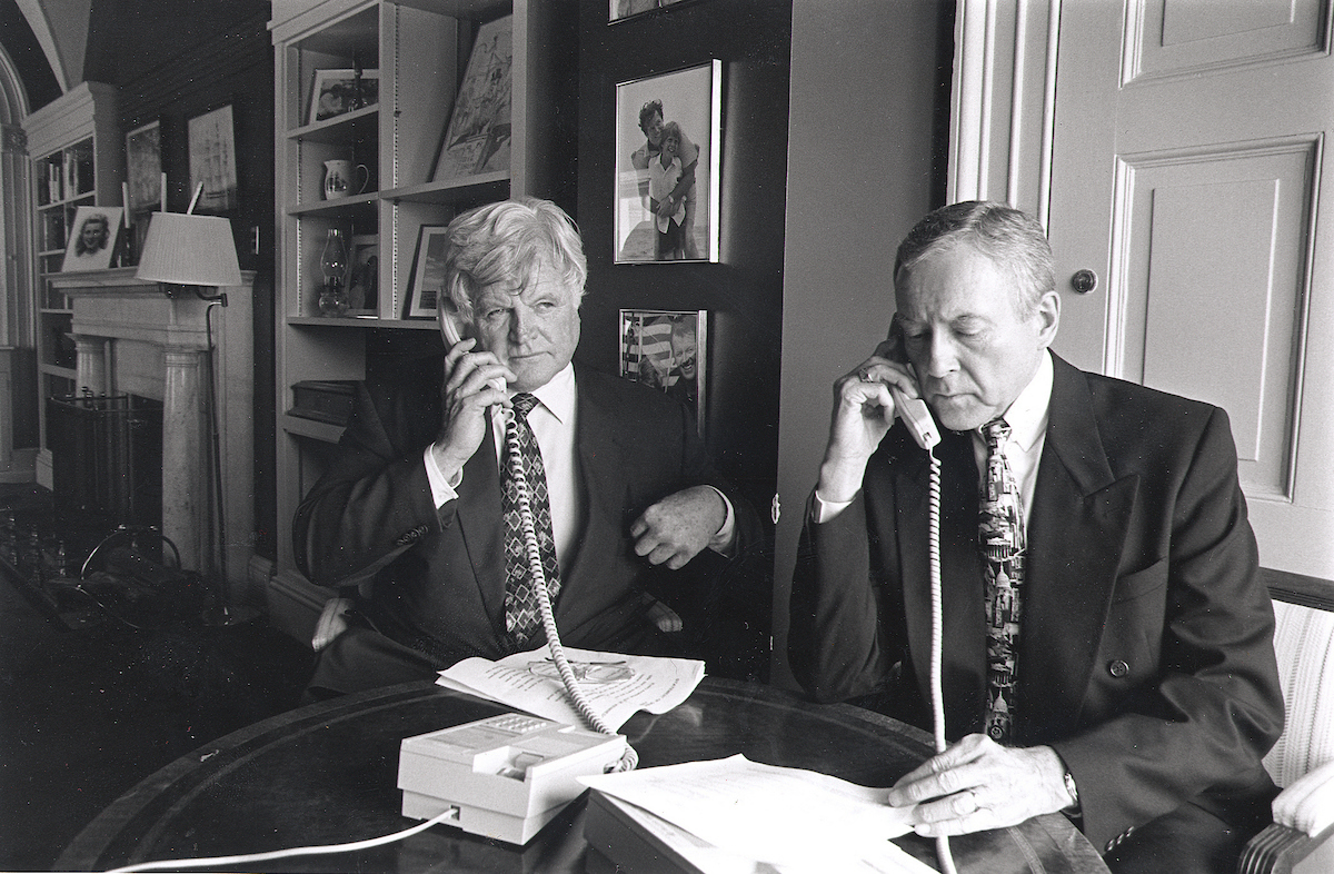 Ted Kennedy and Orrin Hatch make a conference call to promote their health care package specefecally aimed at childern. (1997)