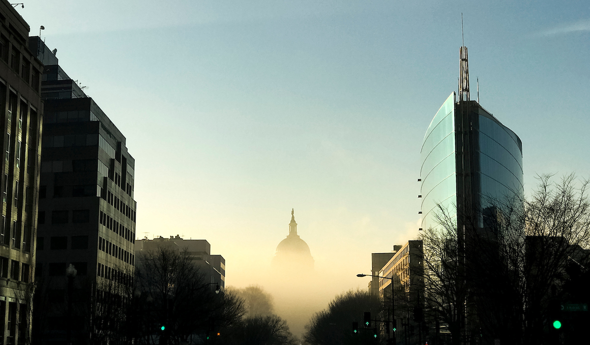 UNITED STATES - JANUARY 9: The U.S. Capitol dome is seen surrounded by fog Tuesday morning, Jan. 9, 2018. (Photo By Bill Clark/CQ Roll Call)