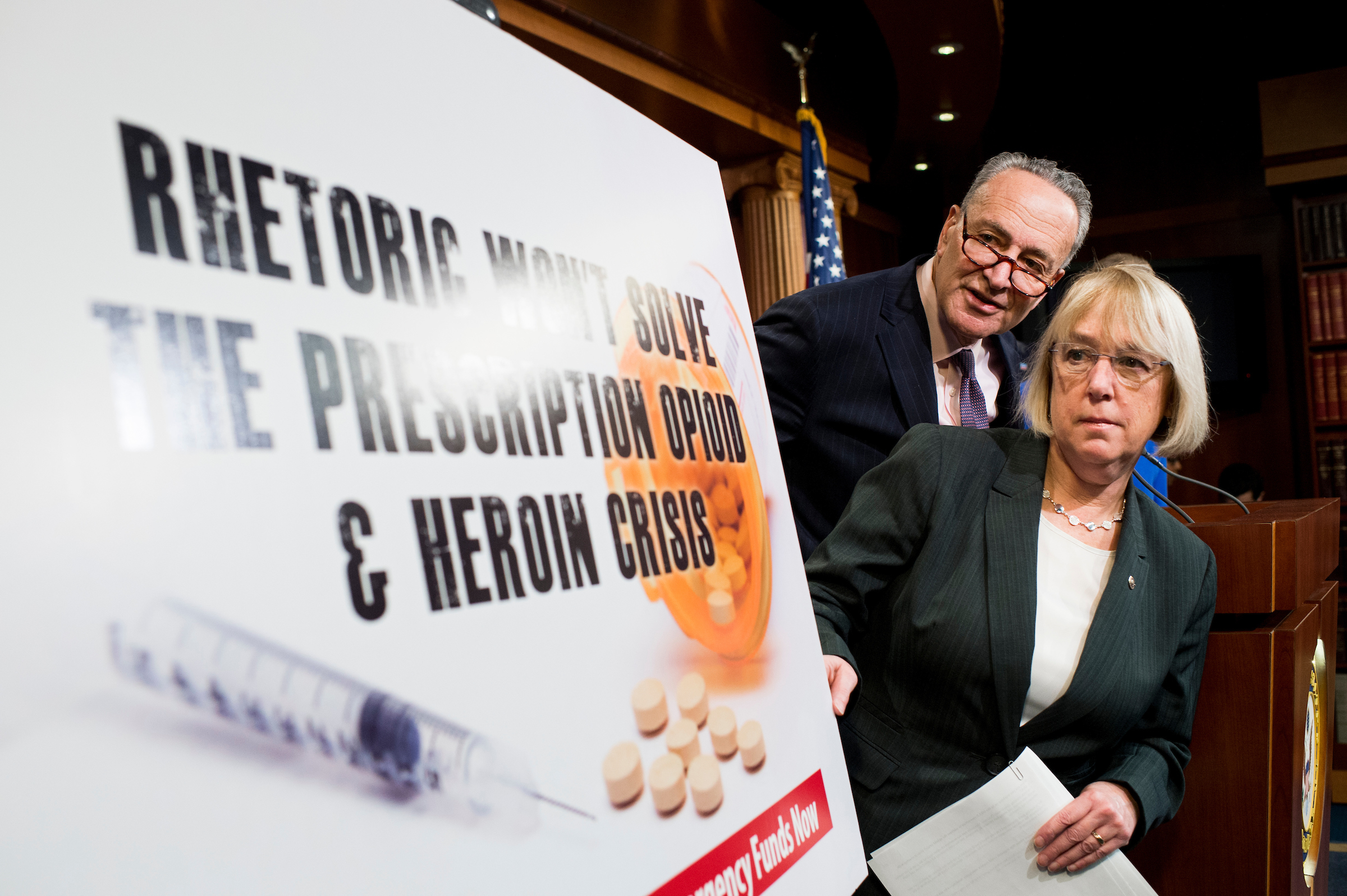 "UNITED STATES - FEBRUARY 11: Sen. Patty Murray, D-Wash., and Sen. Chuck Schumer, D-N.Y., participate in the Senate Democrats' news conference to ""demand emergency funding to tackle prescription opioid and heroin crisis"" on Thursday, Feb. 11, 2016. (Photo By Bill Clark/CQ Roll Call)"