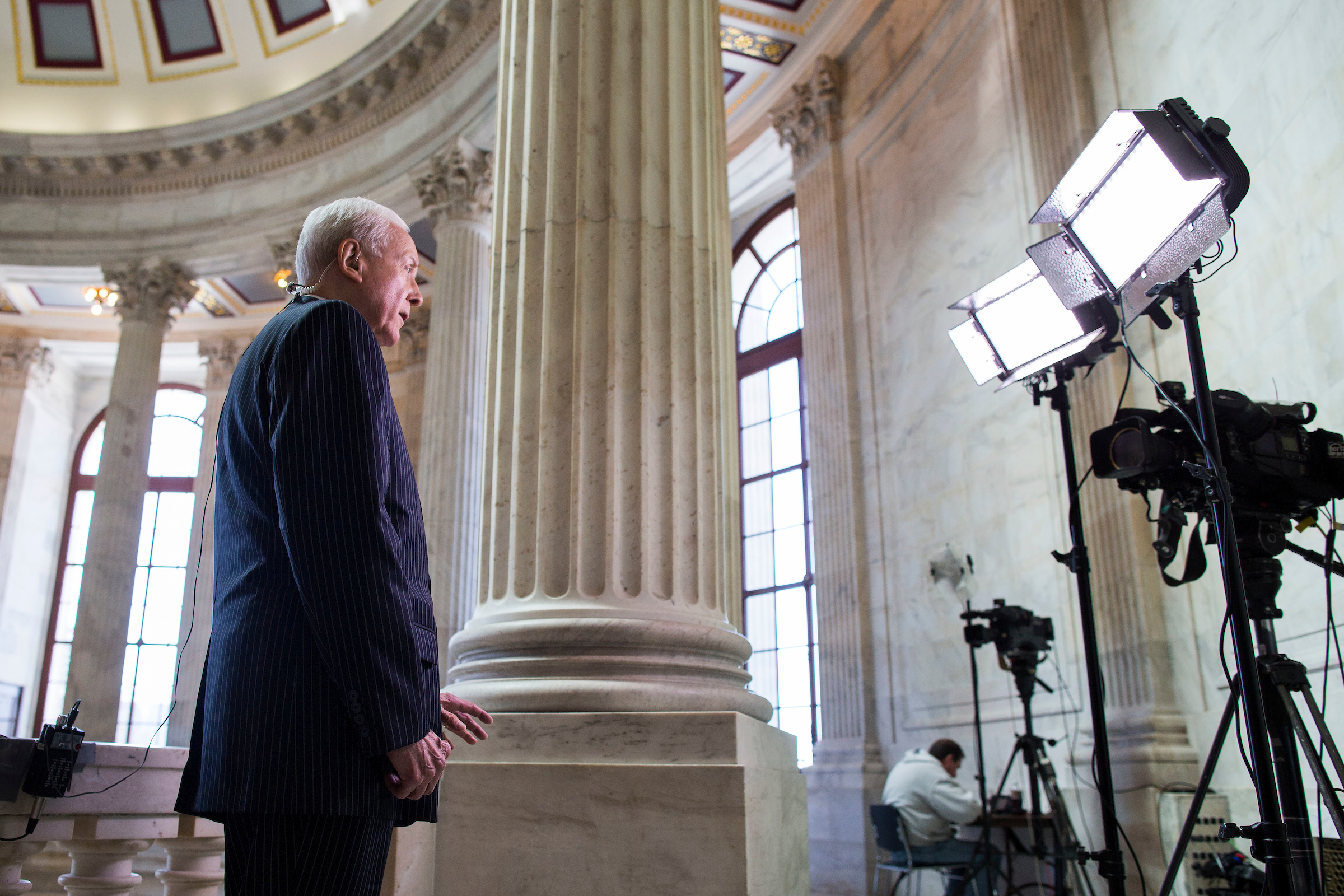 UNITED STATES - MARCH 16 - Sen. Orrin Hatch, R-Utah, does a television interview in the Russell Rotunda after President Barack Obama urged Senate Republicans to grant hearings and a confirmation vote to Merrick Garland, his nominee to replace the late Justice Antonin Scalia on the Supreme Court, on Capitol Hill in Washington, Wednesday, March 16, 2016. (Photo By Al Drago/CQ Roll Call)