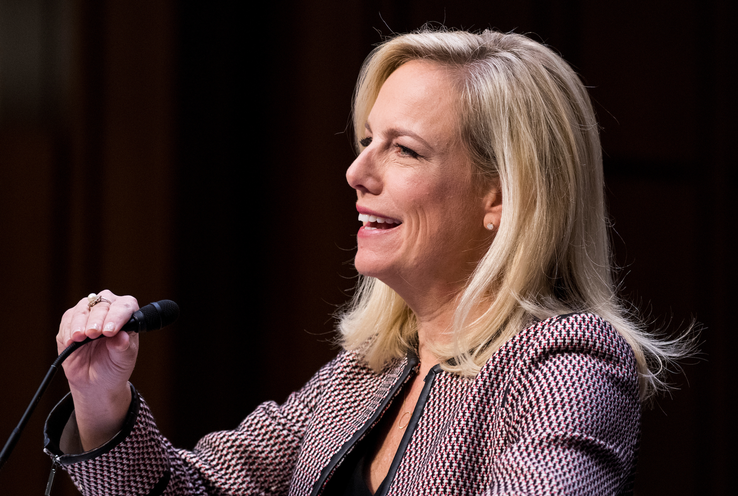 "UNITED STATES - JANUARY 16: Homeland Security Secretary Kirstjen Nielsen testifies during the Senate Judiciary Committee hearing on ""Oversight of the United States Department of Homeland Security"" on Tuesday, Jan. 16, 2018. (Photo By Bill Clark/CQ Roll Call)"