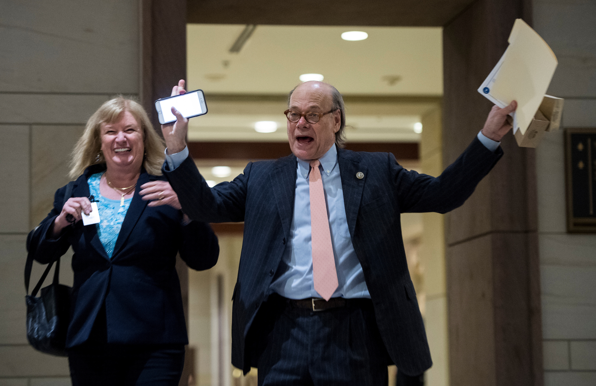 UNITED STATES - FEBRUARY 7: Rep. Carol Shea-Porter, D-N.H., and Rep. Steve Cohen, D-Tenn., arrive for the House Democratic Caucus Issues Conference in the Capitol Visitor Center auditorium on Wednesday, Feb. 7, 2018. (Photo By Bill Clark/CQ Roll Call)