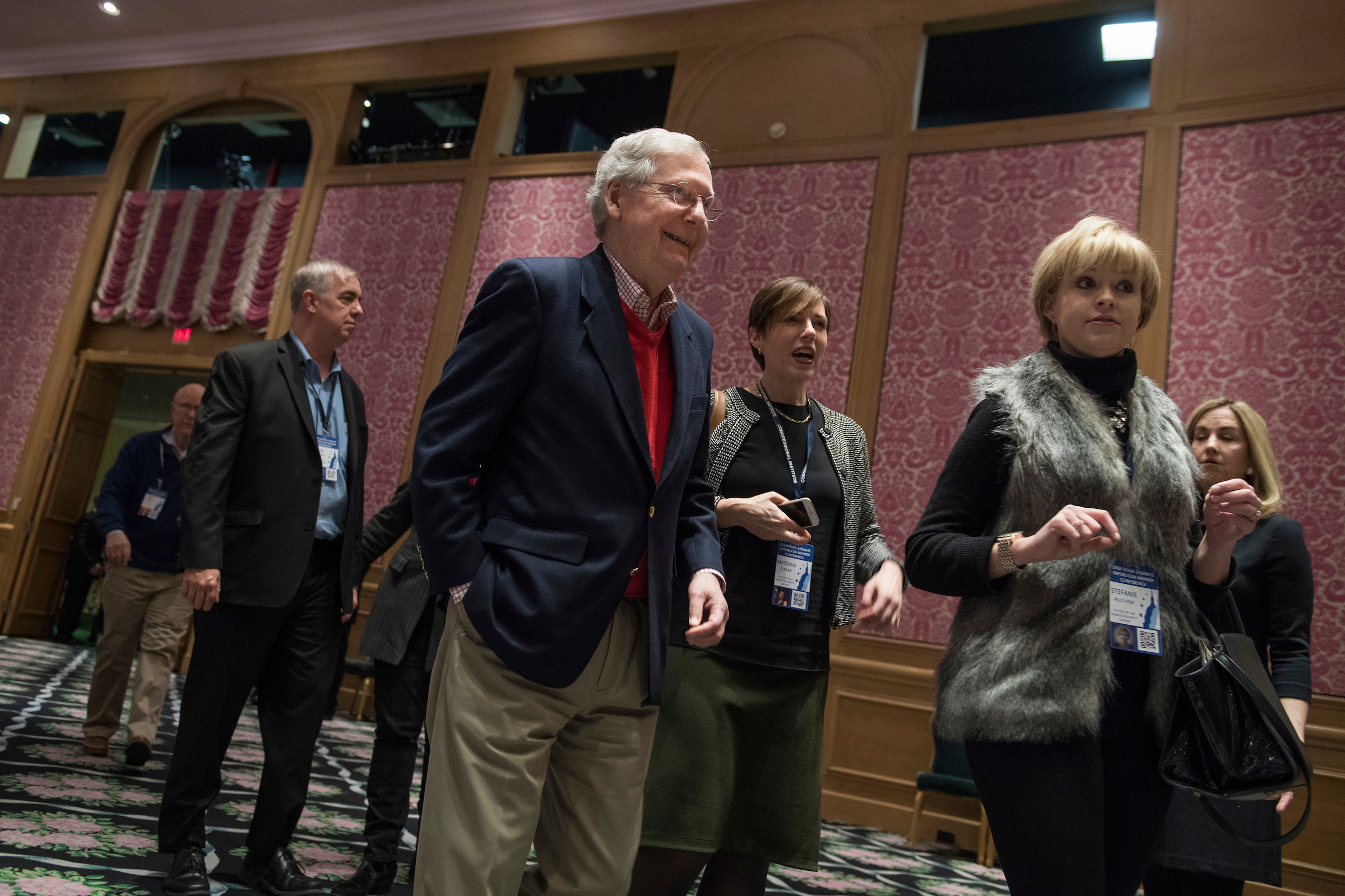 UNITED STATES - JANUARY 31: Senate Majority Leader Mitch McConnell, R-Ky., arrives to a dinner at the House and Senate Republican retreat at The Greenbrier resort in White Sulphur Springs, W.Va., on January 31, 2018. (Photo By Tom Williams/CQ Roll Call)