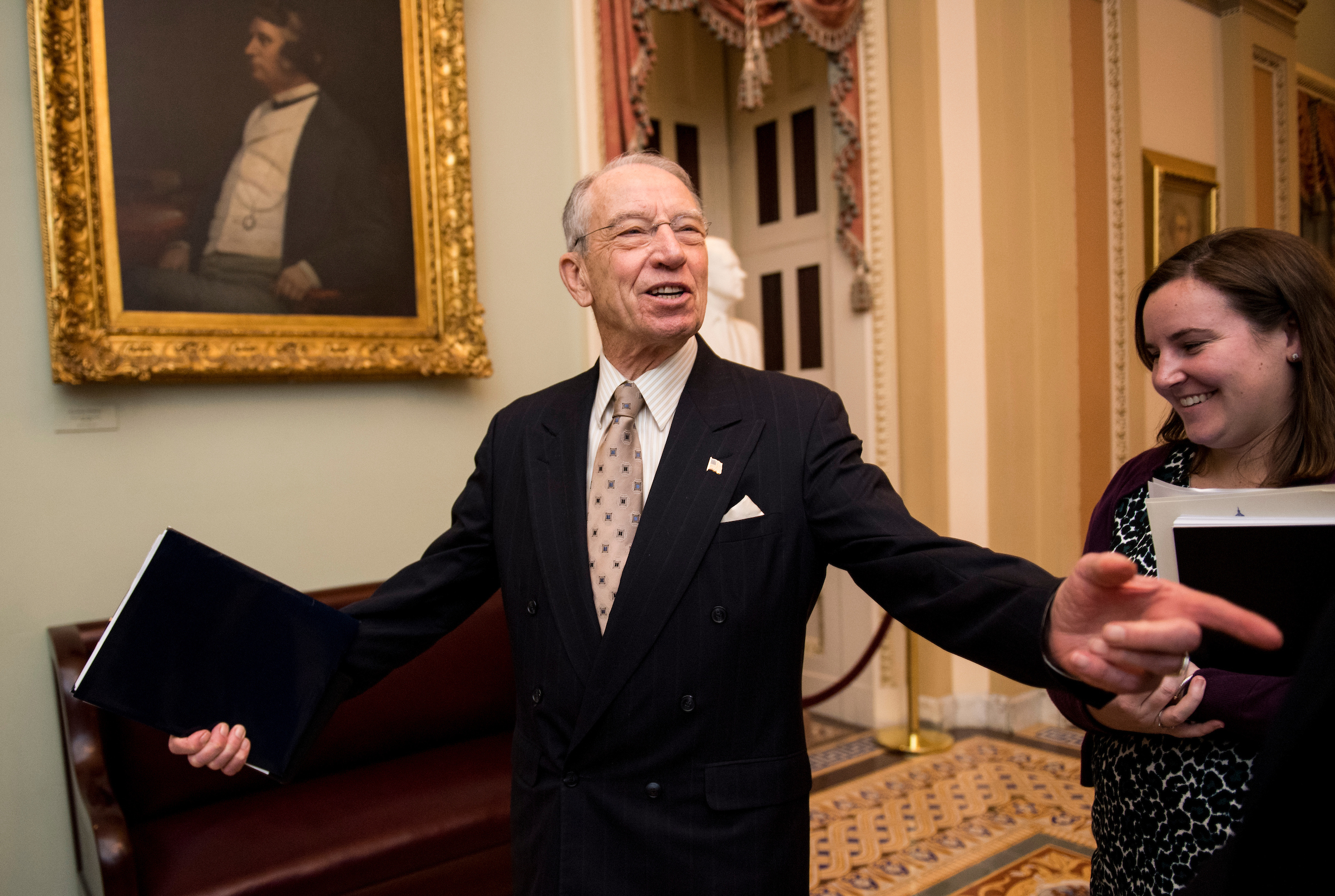 UNITED STATES - FEBRUARY 14: Sen. Chuck Grassley, R-Iowa, speaks with reporters as he arrives for the Senate Republicans' lunch in the Capitol on Wednesday, Feb. 14, 2018. (Photo By Bill Clark/CQ Roll Call)