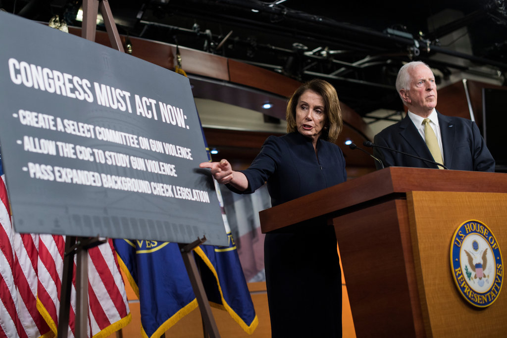 House minority leader Nancy Pelosi said it is important to pass gun safety legislation as soon as possible in the wake of the Florida mass shooting Wednesday that left 17 dead. (Tom Williams/CQ Roll Call)