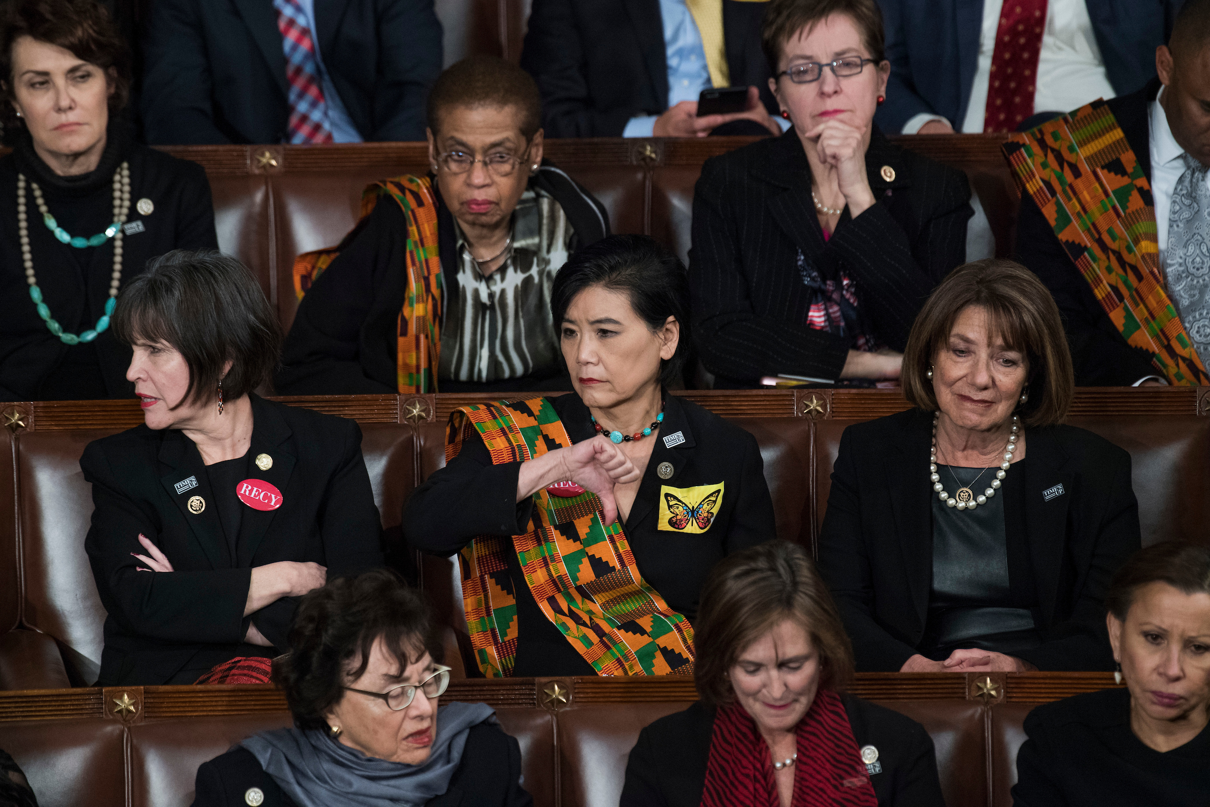 "UNITED STATES - JANUARY 30: Rep. Judy Chu, D-Calif., gives a ""thumbs down"" during President Donald Trump's State of the Union address to a joint session of Congress in the House chamber on January 30, 2018. (Photo By Tom Williams/CQ Roll Call)"