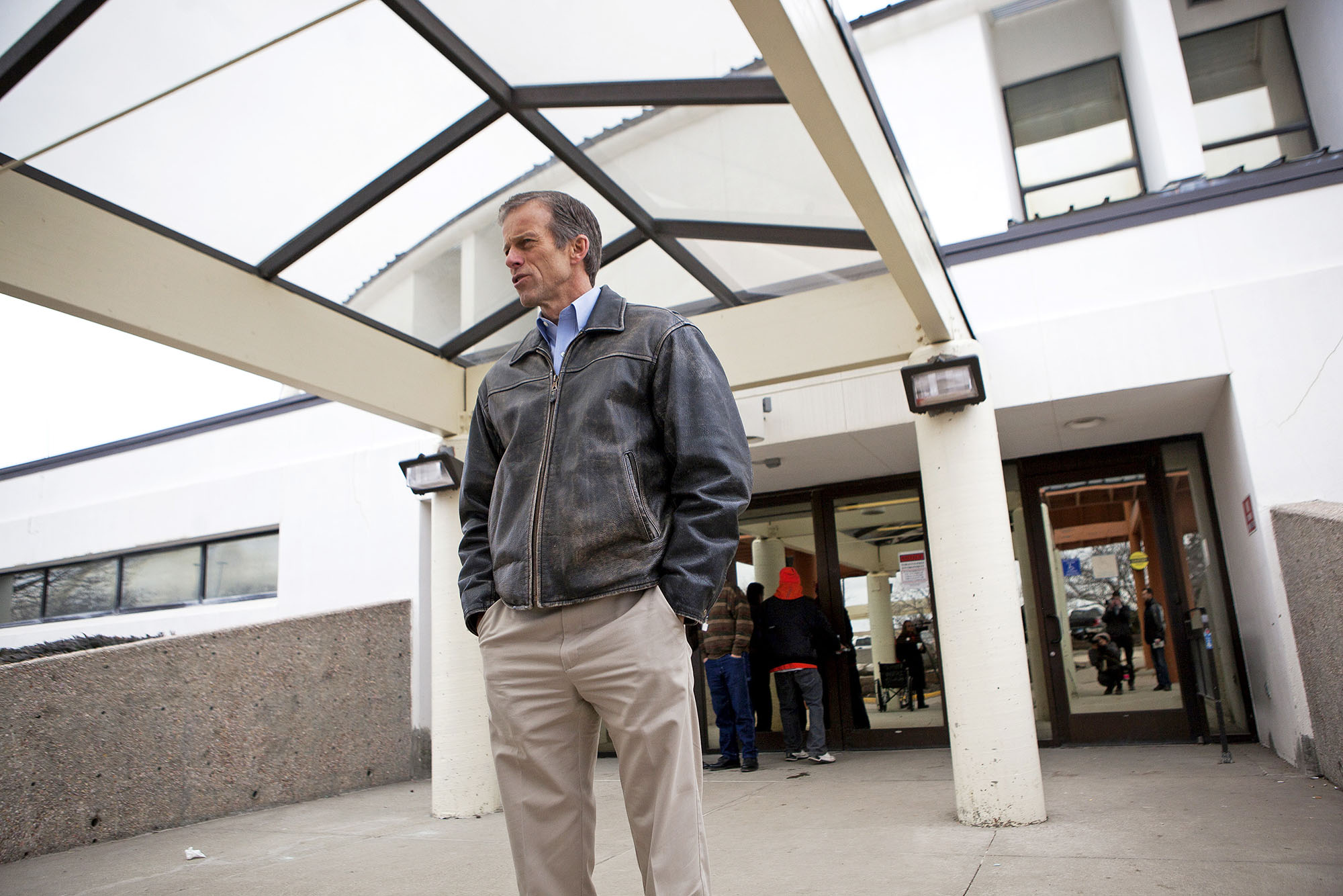 In this Feb. 12, 2016 photo, Sen. John Thune, R-S.D., stands outside of the Rosebud Indian Health Service hospital on the Rosebud Indian Reservation in South Dakota before taking a tour of the facility. The Centers for Medicare and Medicaid Services on Tuesday, March 1, 2016, notified the administration of the 35-bed hospital that the facility's Medicare funding will be pulled effective March 16. (Josh Morgan/Rapid City Journal via AP) TV OUT; MANDATORY CREDIT