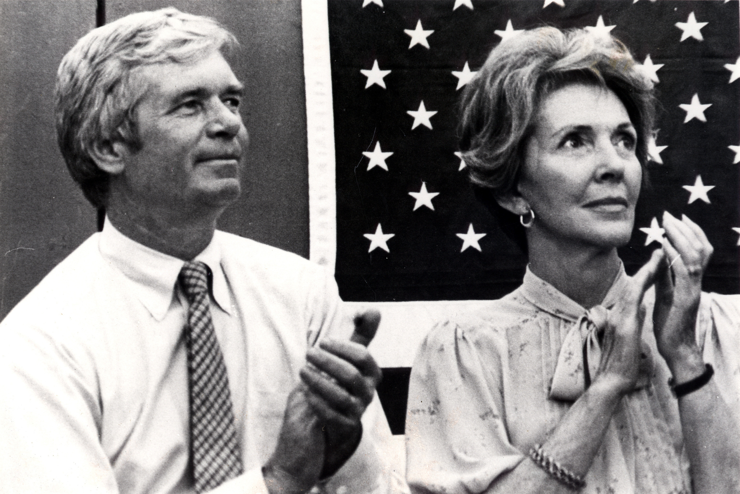 Mississippi Sen. Thad Cochran and Nancy Reagan listen to a a speech by Ronald Reagan at the Neshoba County Fair in Philadelphia, Mississippi, during his 1980 presidential campaign. Cochran, who was elected to the Senate in 1978, announced this week he's resigning effective April 1.