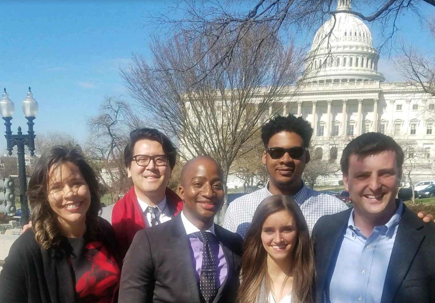 The District Dems founders. Back row from left to right: Eriade Williams, Trelaine Ito, Brandon Gassaway. Front row from left to right: Michael Hardaway, Colleen Carlos, Lin Whitehouse, (Courtesy of District Dems)