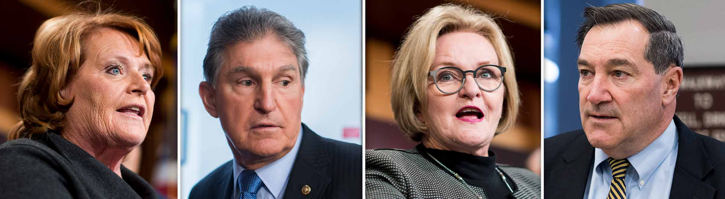 The four Senate Democrats in the toughest races at the moment — from left, Heidi Heitkamp, Claire McCaskill, Joe Manchin III and Joe Donnelly — are also the four who backed Trump most often during the first year of his presidency. (Bill Clark and Tom Williams/CQ Roll Call file photos)