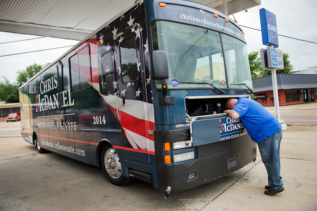 The last time Mississippi state Sen. Chris McDaniel ran for Senate — in the 2014 primary and runoff — he used this 1996 bus. But it didn't quite get him to where he wanted to go. (Tom Williams/CQ Roll Call file photo)