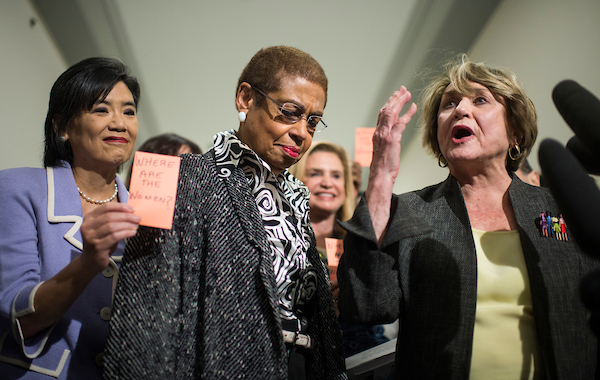 UNITED STATES- JANUARY 15 From left Rep. Judy Chu D-Calif. Del. Eleanor Holmes Norton D-D.C. and Rep. Louise Slaughter D-N.Y. co-chairwoman of the Pro Choice Caucus participate in a news conference outside of the House Judiciary Committee on Wed