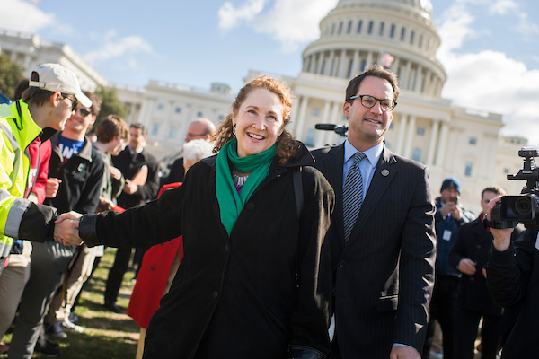 UNITED STATES - MARCH 14: Reps. Elizabeth Esty, D-Conn., and Jim Himes, D-Conn., attend a rally on the West Front of the Capitol to call on Congress to act on gun violence prevention during a national walkout by students on March 14, 2018. (Photo By Tom Williams/CQ Roll Call)