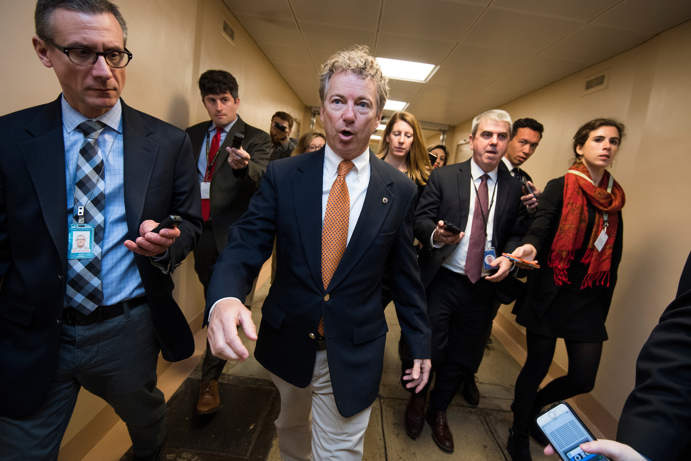 UNITED STATES - MARCH 20: Sen. Rand Paul, R-Ky., talks with reporters in the basement of the Capitol before the Senate Policy luncheons on March 20, 2018. (Photo By Tom Williams/CQ Roll Call)