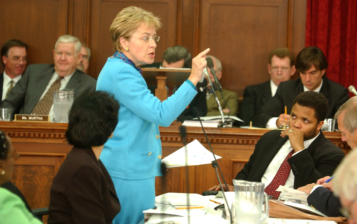 """Rep. Marcy Kaptur, D-Ohio, seen here during a markup on the Iraq supplemental appropriations bill in 2003, recently became the longest-serving woman in House history. Turns out she understood things the first female presidential nominee of a major party did not. """"Trump did very well here by sounding a lot like Marcy Kaptur on trade,"""" Toledo Mayor Wade Kapszukiewicz said this week. More about Kaptur's relevance to 2018 below. (CQ/Roll Call file photo)."""