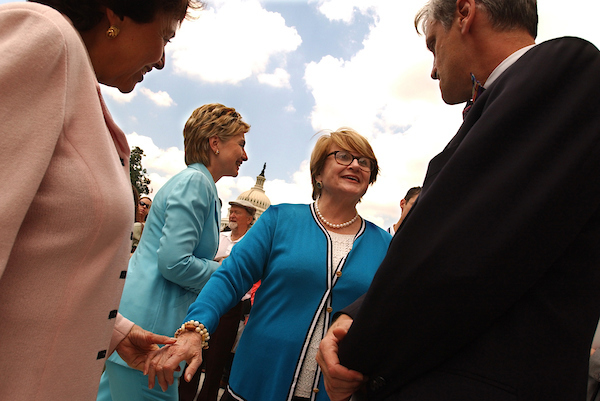 From left, Rep. Nita Lowey, D-N.Y., Sen. Hillary Clinton, D-N.Y., Rep. Louise Slaughter, D-N.Y., and Earl Blumenauer, D-Ore., assemble for a rally on the Cannon Terrace to protect the public radio and television from $100 million of funding cuts proposed for the Corporation for Public Broadcasting.