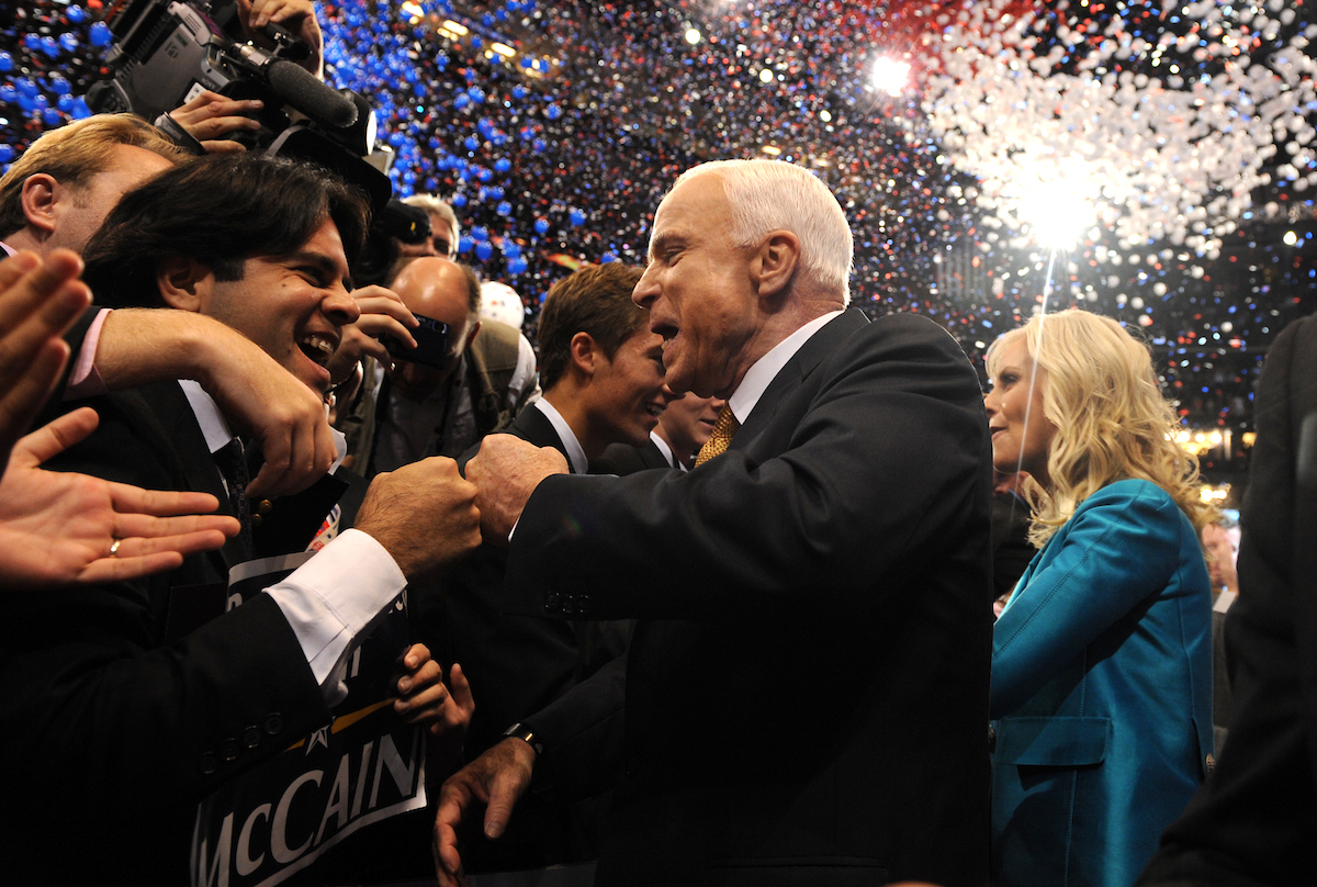 McCain and his wife, Cindy, greet supporters after he accepted his party's presidential nomination in 2008.