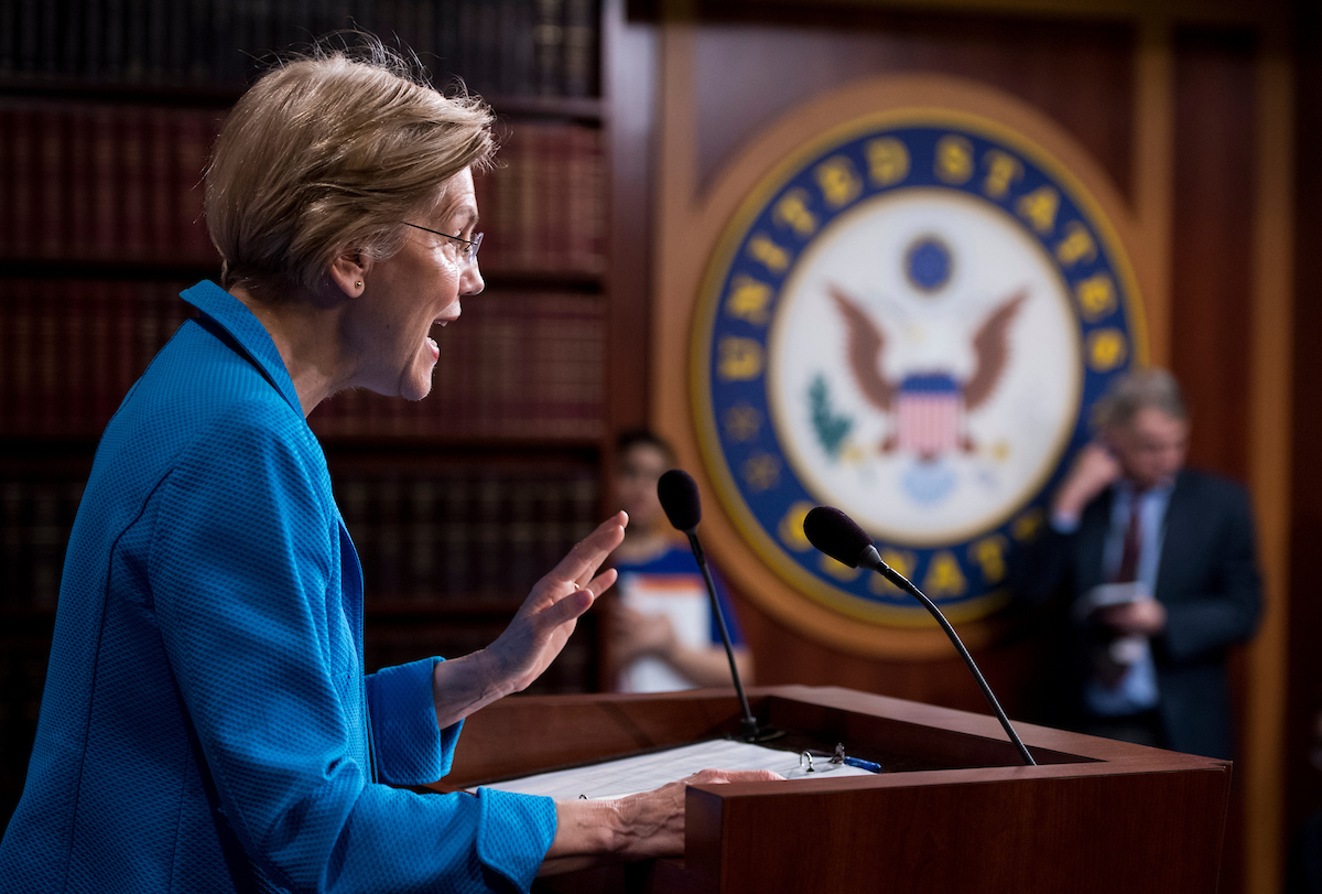 UNITED STATES - MARCH 6: Sen. Elizabeth Warren, D-Mass., holds a news conference in the Capitol on banking deregulation legislation on Tuesday, March 6, 2018. (Photo By Bill Clark/CQ Roll Call)