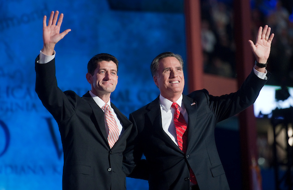 GOP vice presidential candidate Ryan, and GOP presidential candidate Mitt Romney after Romney's speech at the 2012 Republican National Convention at the Tampa Bay Times Forum. (Chris Maddaloni/CQ Roll Call file photo)