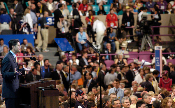 Ryan speaks at the 2004 Republican National Convention at Madison Square Garden in New York City. (CQ Roll Call archive photo)