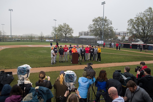 UNITED STATES - APRIL 25: Rep. Joe Barton, R-Texas, speaks during a news conference with members of the Republican baseball team after the first practice of the year Eugene Simpson Stadium Park in Alexandria, Va., on April 25, 2018. (Photo By Tom Williams/CQ Roll Call)