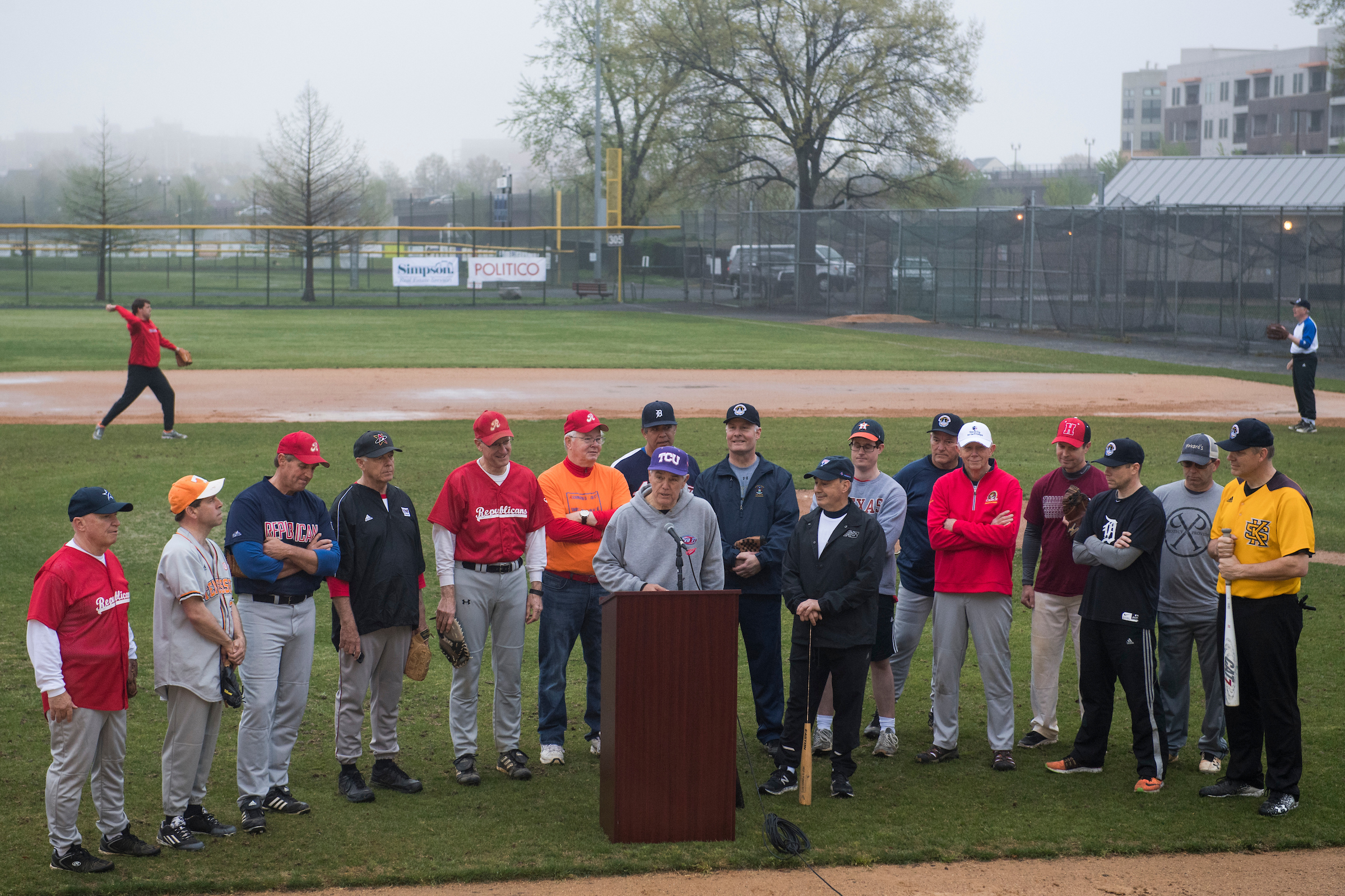 UNITED STATES - APRIL 25: Rep. Roger Williams, R-Texas, speaks during news conference with members of the Republican baseball team after the first practice of the year at Eugene Simpson Stadium Park in Alexandria, Va., on April 25, 2018. Williams' aide Zack Barth was one of injured in last year's shooting at a team practice. (Photo By Tom Williams/CQ Roll Call)