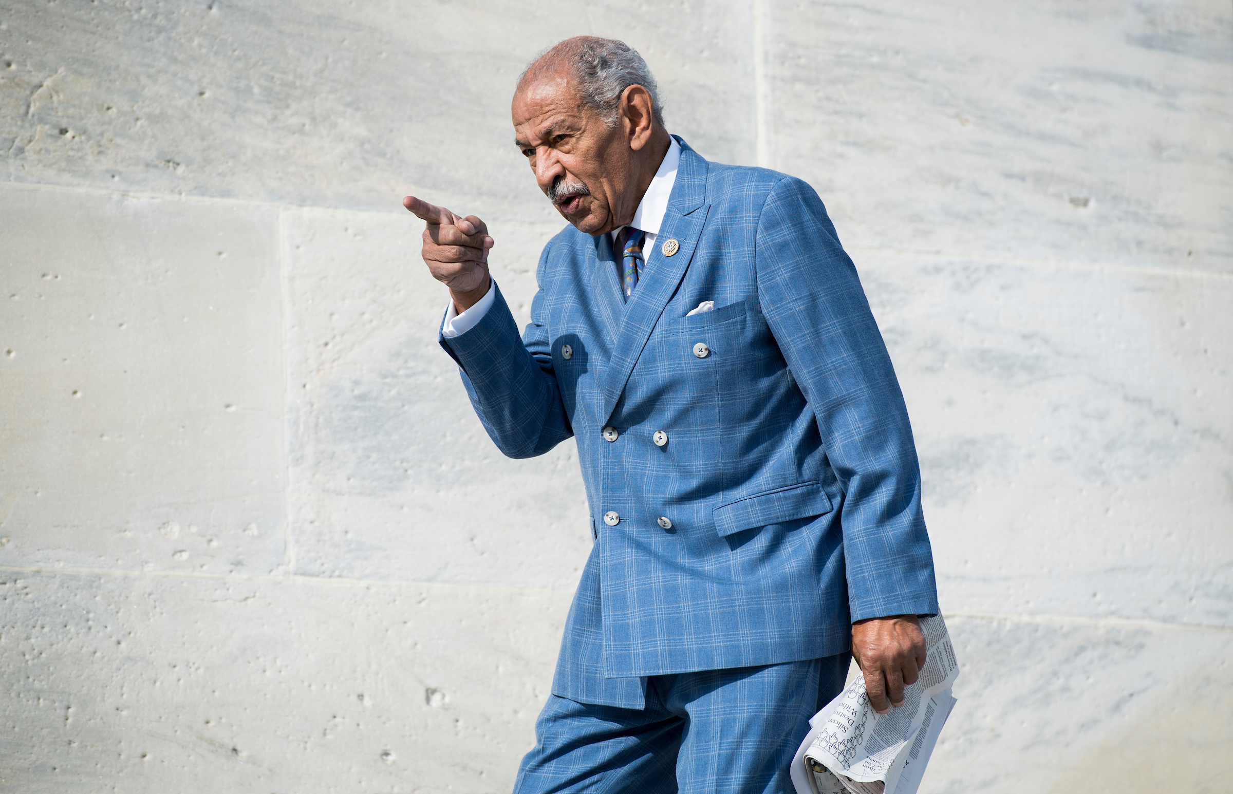 Rep. John Conyers, D-Mich., walks down the House steps after voting in the Capitol on Friday, Nov. 3, 2017. (Photo By Bill Clark/CQ Roll Call)
