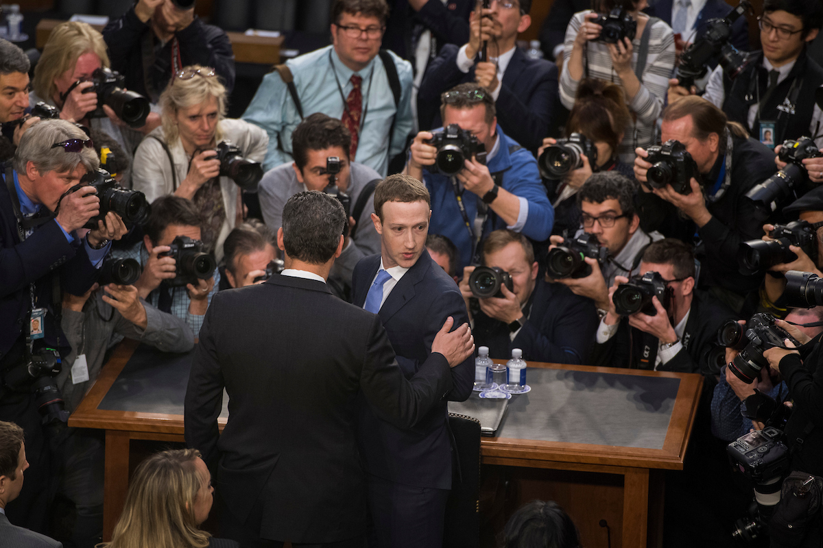 Facebook CEO Mark Zuckerberg arrives to testify before a joint hearing of the Senate Judiciary and Commerce Committees on the protection of user data in Hart Building on Tuesday. (Tom Williams/CQ Roll Call)