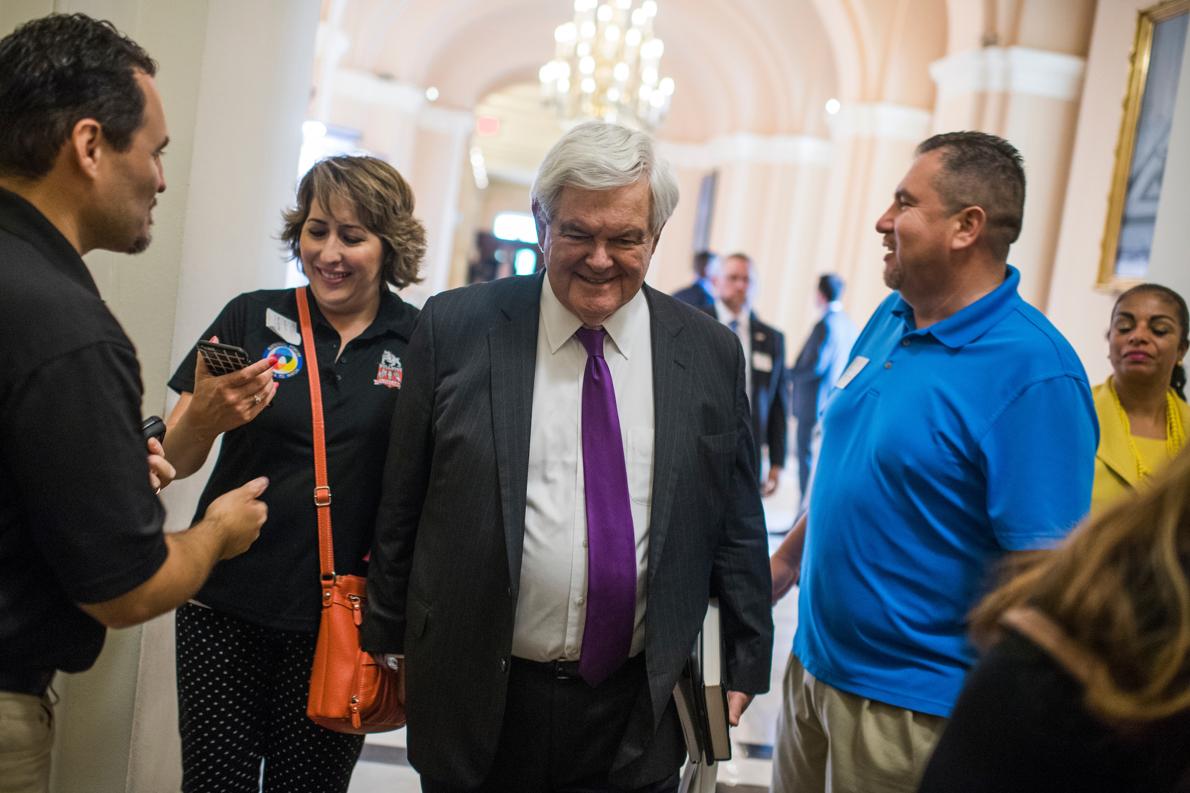 Former Speaker Newt Gingrich, R-Ga., makes his way to the Capitol office of House Majority Leader Kevin McCarthy, R-Calif. (Tom Williams/CQ Roll Call File Photo)