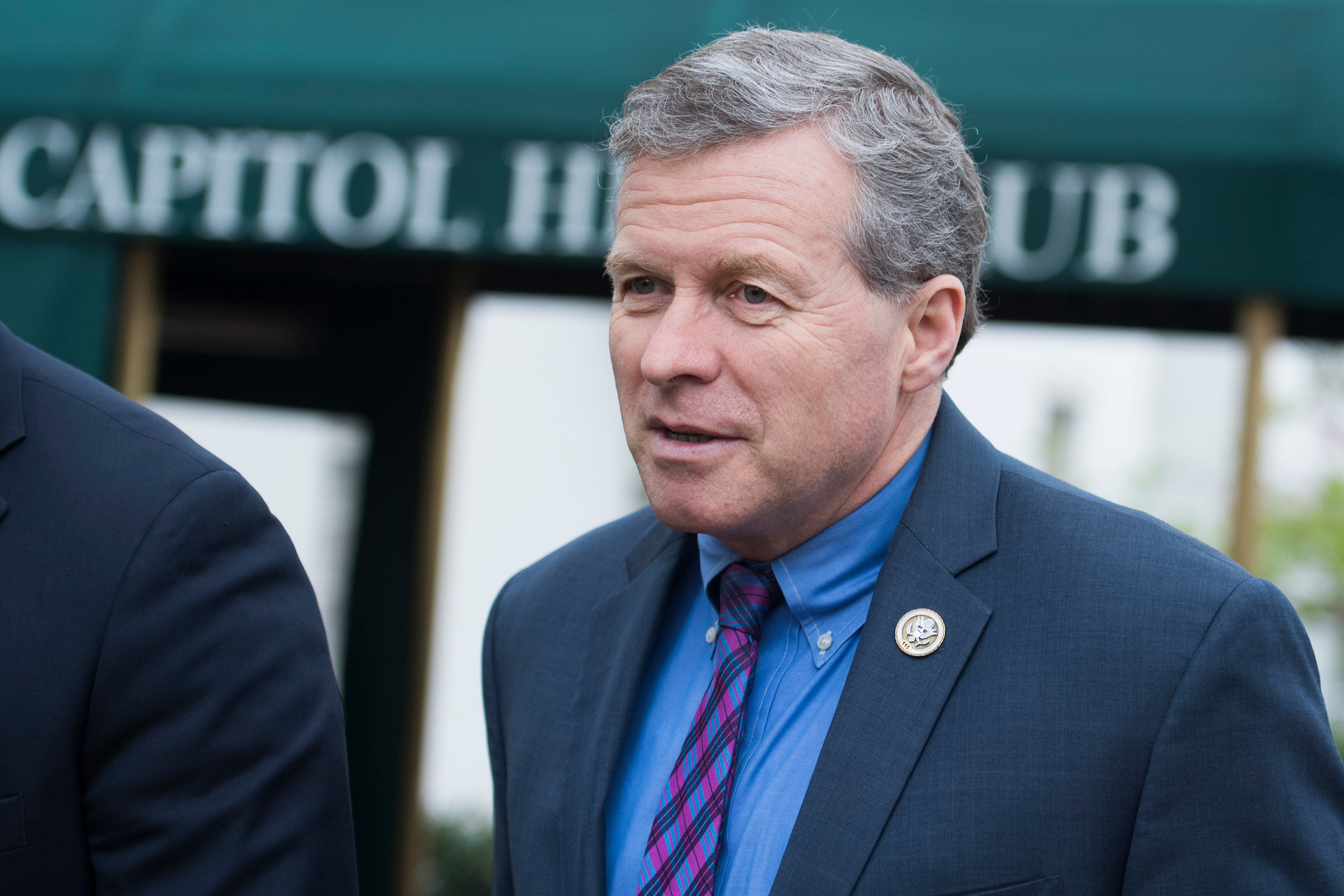 UNITED STATES - APRIL 17: Rep. Charlie Dent, R-Pa., leaves a meeting of the GOP Conference at the Capitol Hill Club on April 17, 2018. (Photo By Tom Williams/CQ Roll Call)