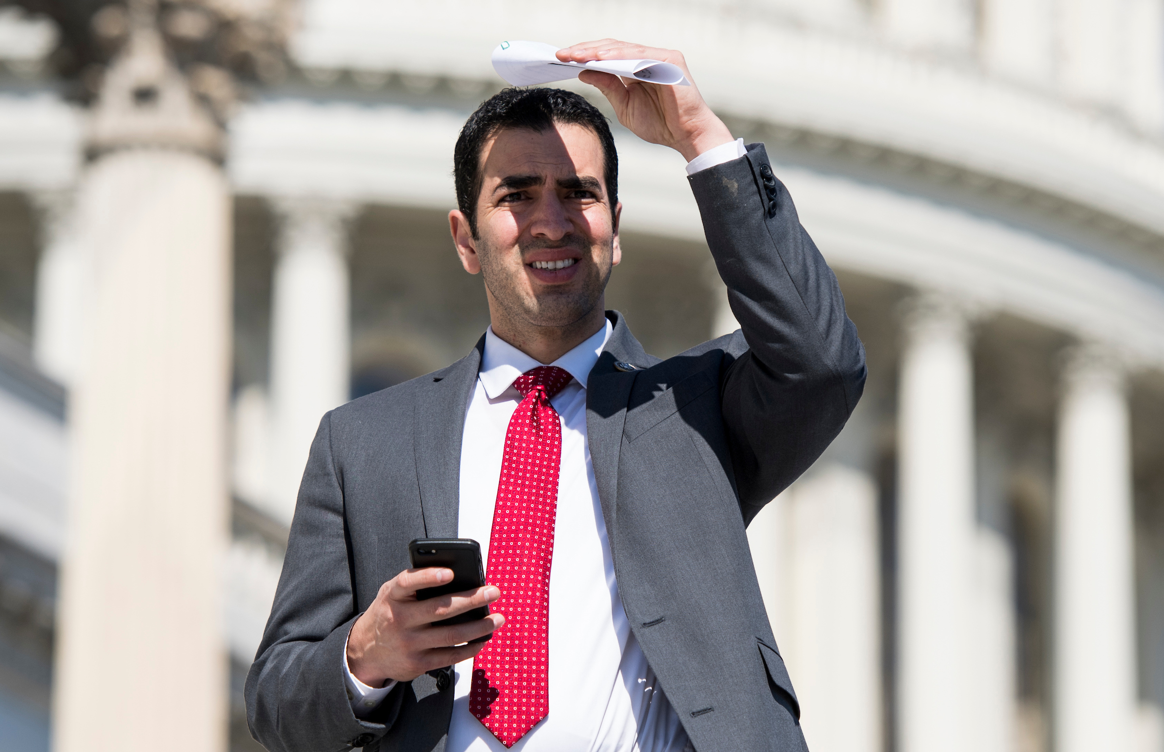 Rep. Ruben Kihuen, D-Nev., walks down the House steps after final votes of the week in the Capitol on March 8, 2018. (Photo By Bill Clark/CQ Roll Call)