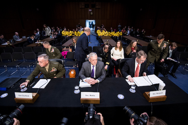UNITED STATES - APRIL 26: From left, General Joseph Dunford, Jr., USMC Chairman of The Joint Chiefs Of Staff, Secretary of Defense James Mattis, and Under Secretary of Defense David Norquist takes their seats for the Senate Armed Services Committee hearing on the Defense Authorization Request for Fiscal Year 2019 on Thursday, April 26, 2018. (Photo By Bill Clark/CQ Roll Call)