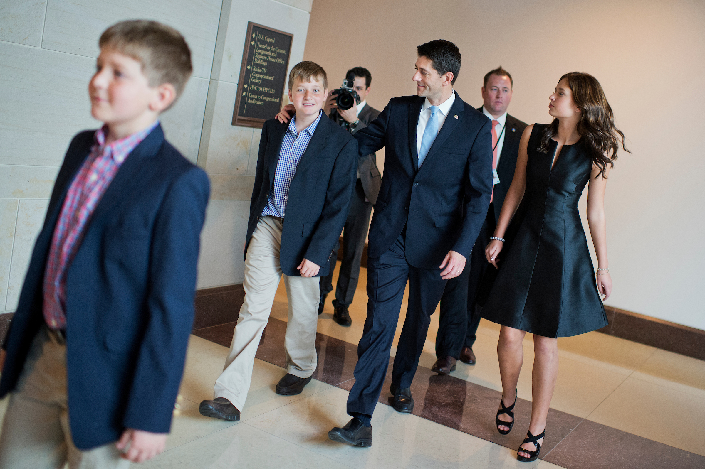 UNITED STATES - OCTOBER 29: Rep. Paul Ryan, R-Wisc., walks with his children, from left, Sam, Charlie, and Liza, after being sworn in on the House floor as the 54th Speaker of the House, October 29, 2015. (Photo By Tom Williams/CQ Roll Call)