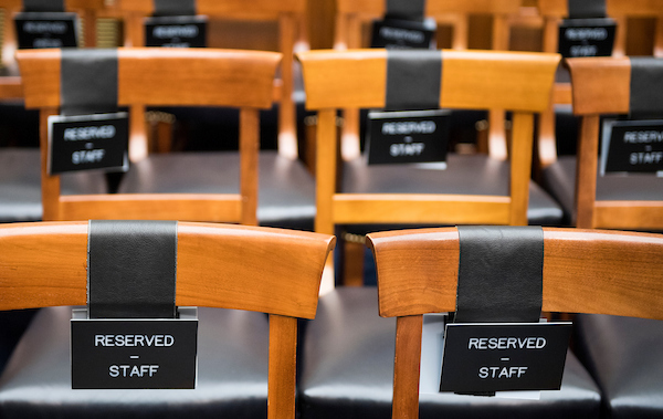 "Seats are reserved for staff at the House Armed Services Committee hearing on ""Promoting DOD's Culture of Innovation"" on Tuesday, April 17, 2018. (Photo By Bill Clark/CQ Roll Call)"
