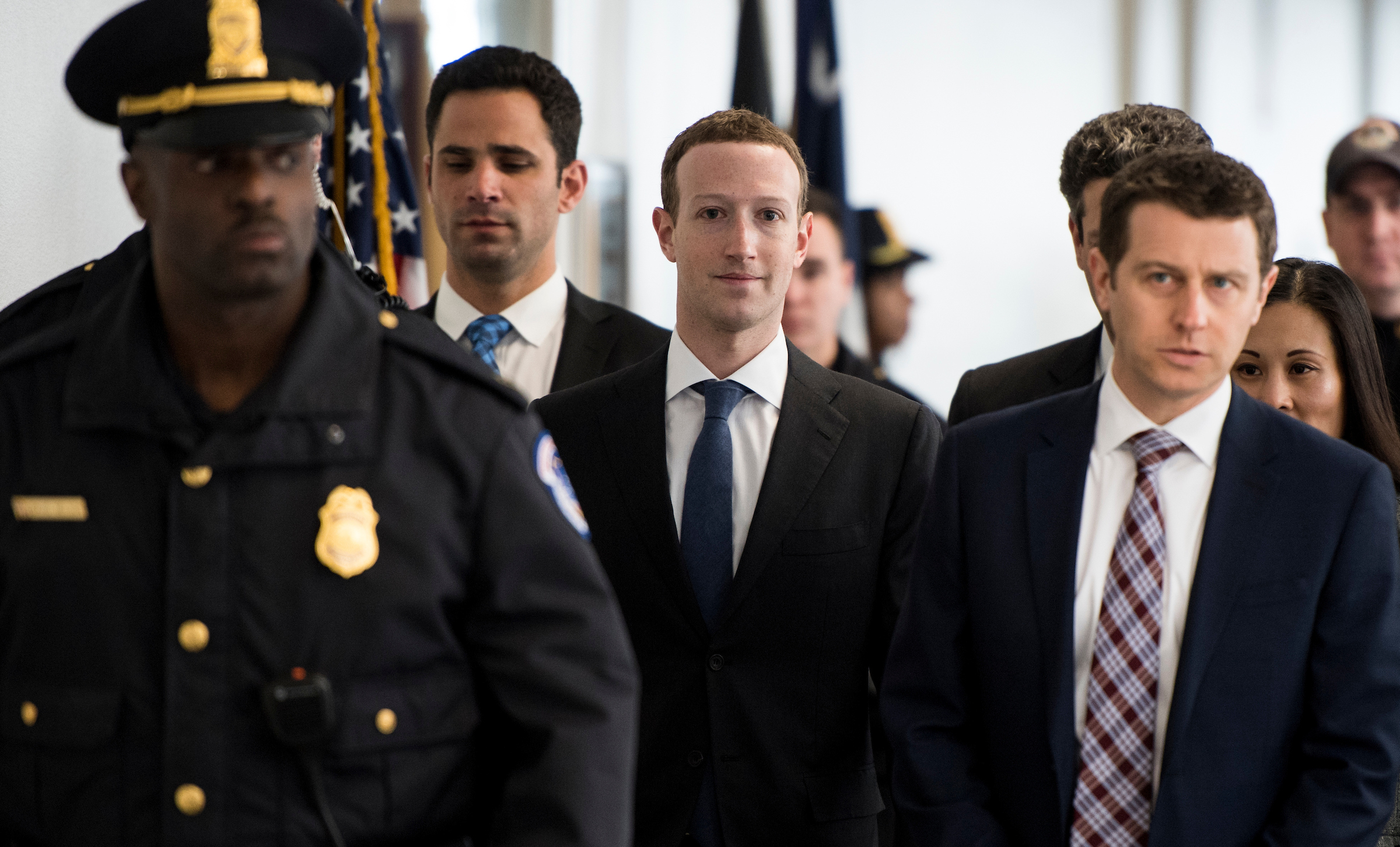 UNITED STATES - APRIL 9: Facebook CEO Mark Zuckerberg arrives for his meeting with Sen. Bill Nelson, D-Fla., in the Hart Senate Office Building on Monday, April 9, 2018. Zuckerberg is on Capitol Hill to testify before the House and Senate this week. (Photo By Bill Clark/CQ Roll Call)