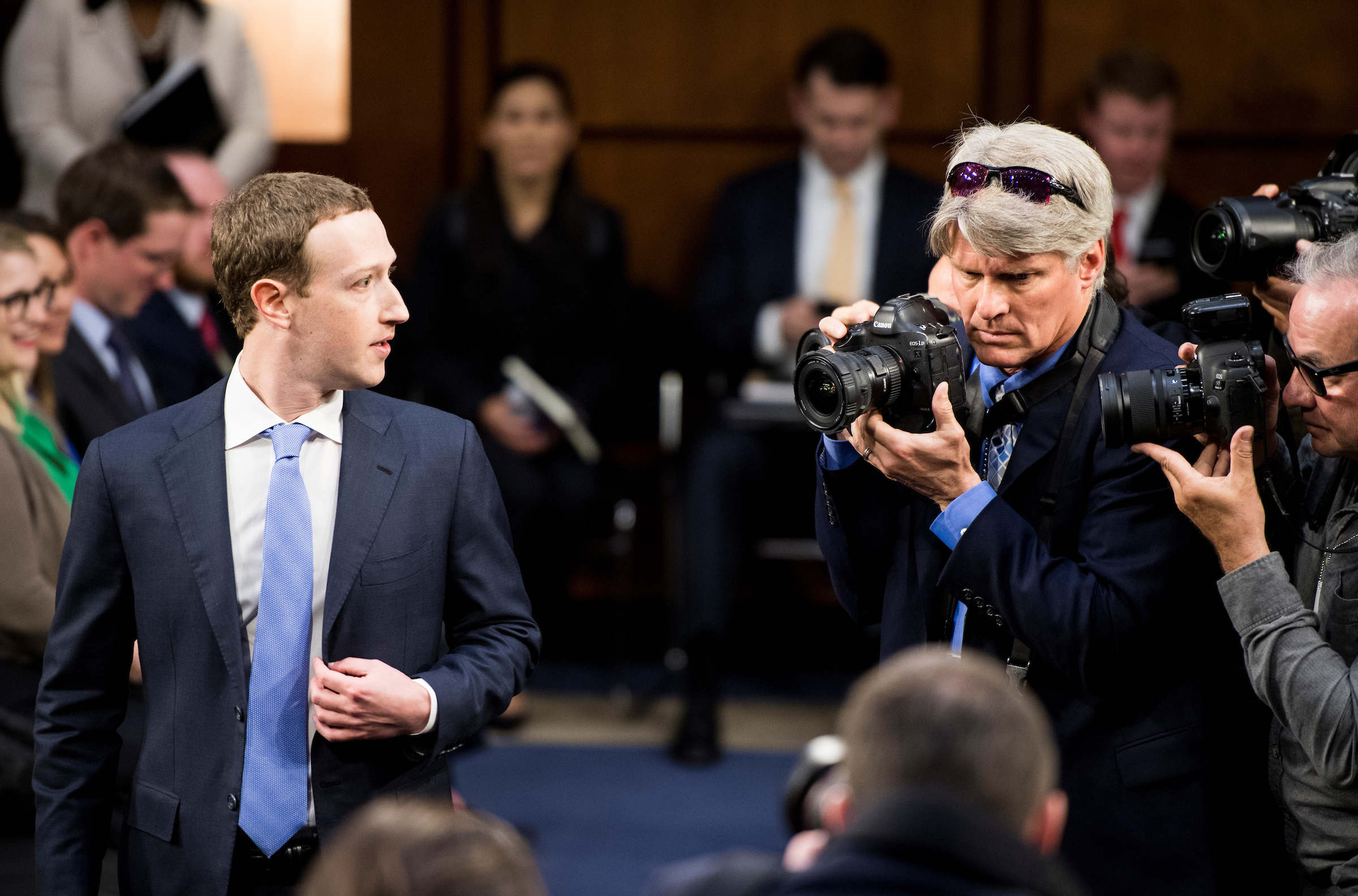Mark Zuckerberg arrives for Senate questioning. (Bill Clark/CQ Roll Call)