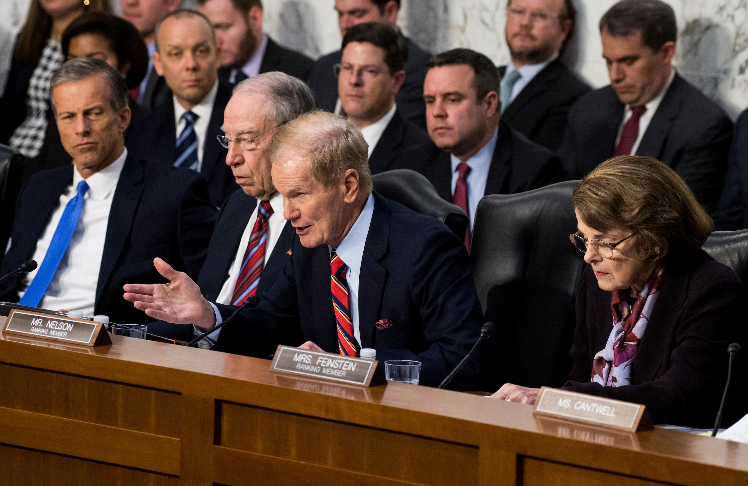"Sen. Bill Nelson, D-Fla., questions Facebook CEO Mark Zuckerberg during the Senate Commerce, Science and Transportation Committee and Senate Judiciary Committee joint hearing on ""Facebook, Social Media Privacy, and the Use and Abuse of Data"" on Tuesday, April 10, 2018. (Bill Clark/CQ Roll Call)"