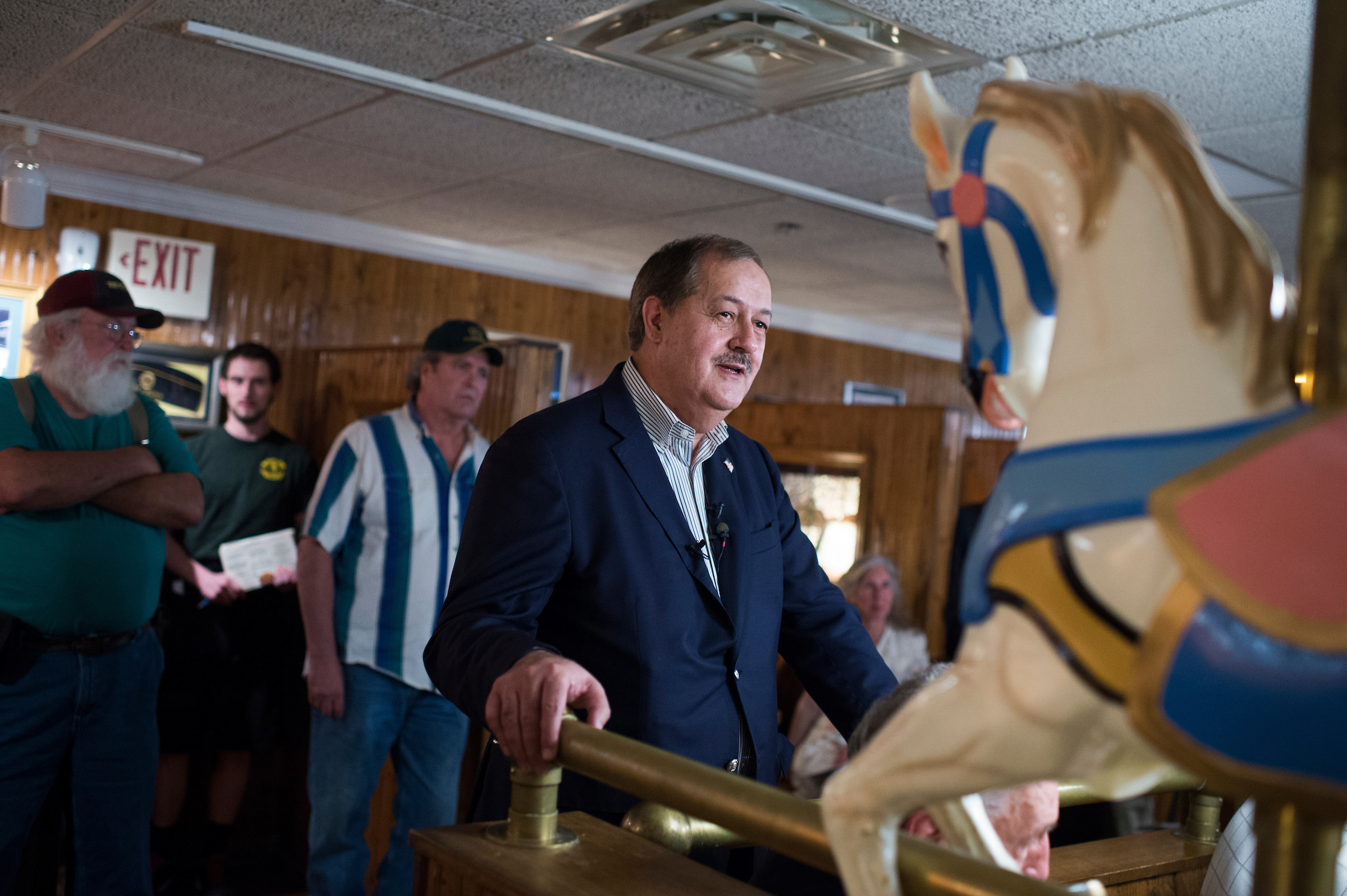 UNITED STATES - MAY 3: Don Blankenship, who is running for the Republican nomination for Senate in West Virginia, conducts a town hall meeting at Macado's restaurant in Bluefield, W.Va., on May 3, 2018. (Photo By Tom Williams/CQ Roll Call)