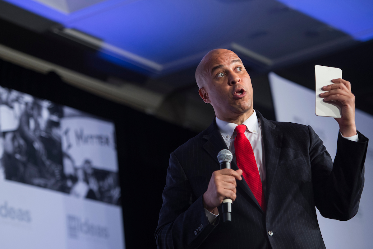 UNITED STATES - MAY 15: Sen. Cory Booker (D-NJ) speaks at the Center for American Progress 'Ideas' conference Tuesday May 15, 2018. (Photo by Sarah Silbiger/CQ Roll Call)