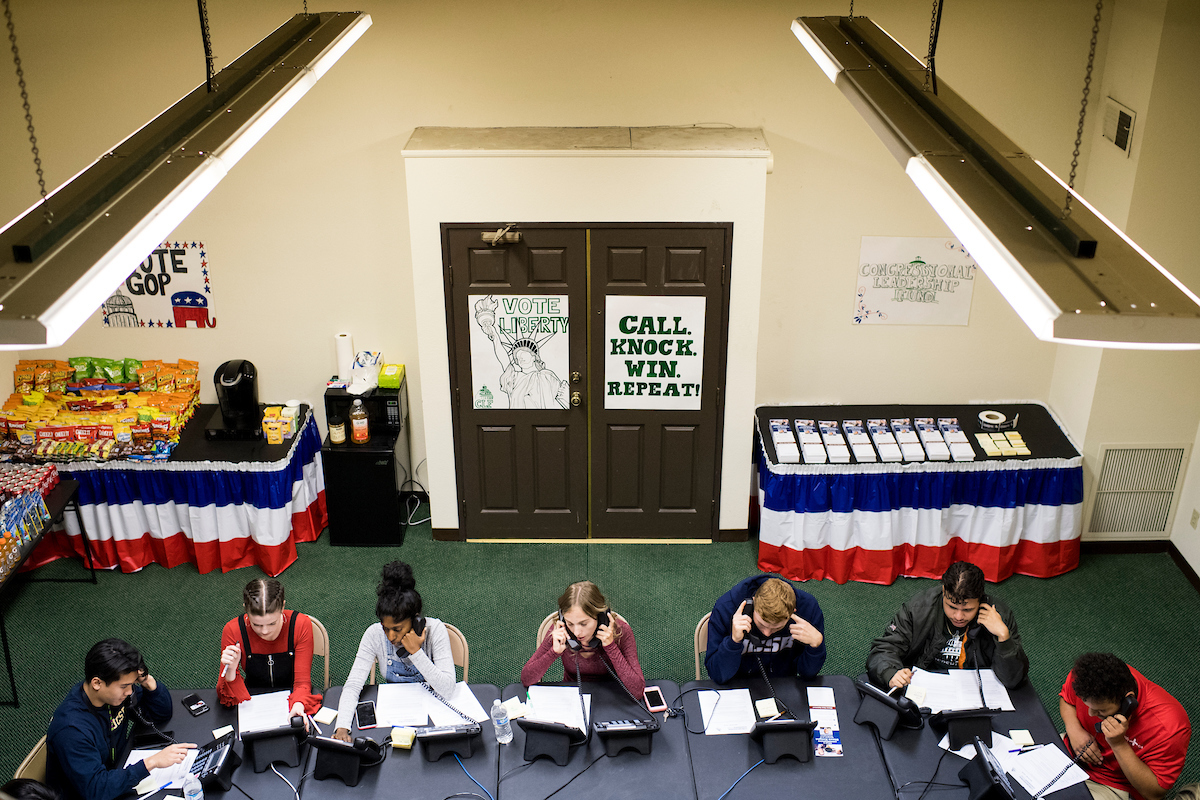 Interns work the phones at the Congressional Leadership Fund office in Rep. Steve Knight's district in Lancaster, Calif. (Bill Clark/CQ Roll Call)