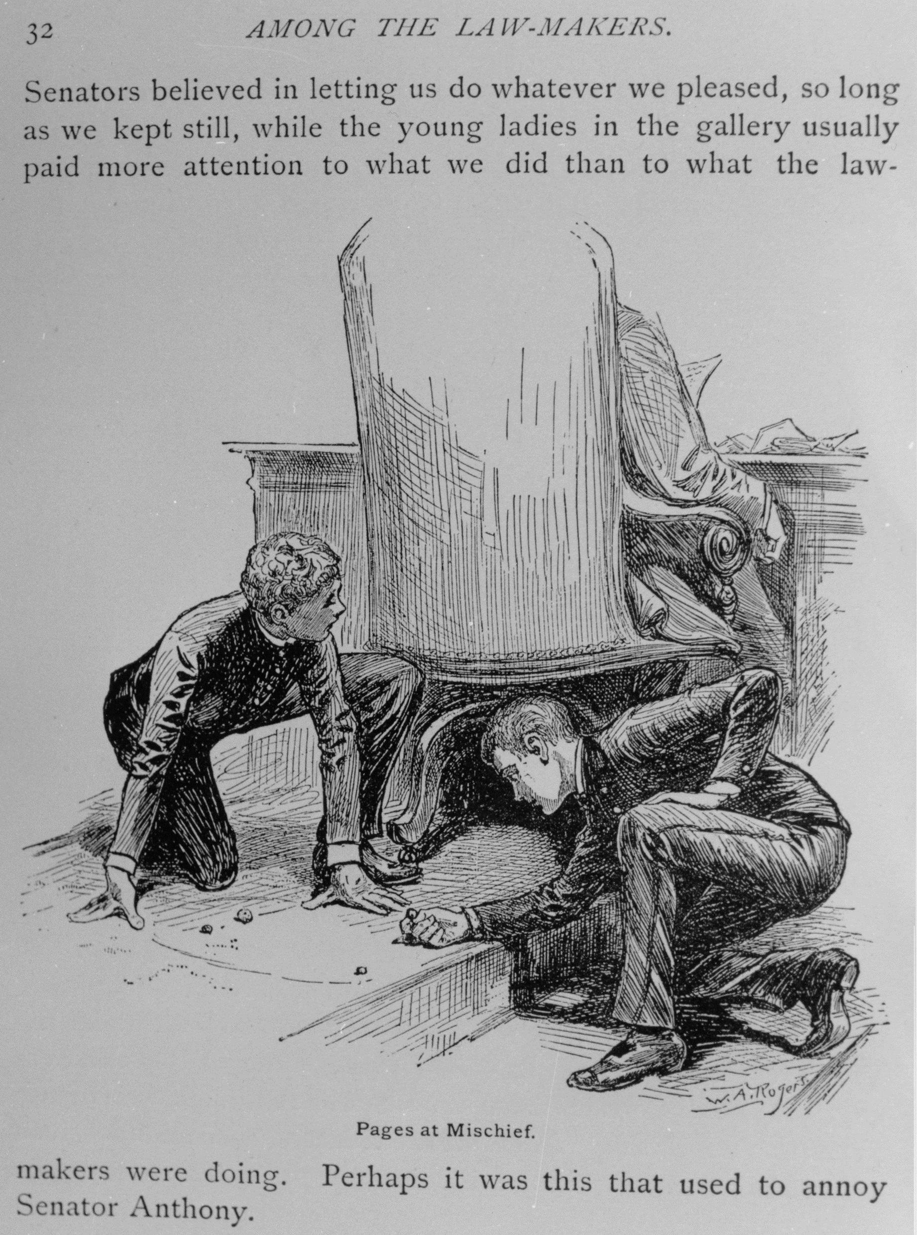 "An illustration of pages playing marbles behind a lawmaker's desk from Edmund Alton's 1886 novel ""Among the Law-Makers."""