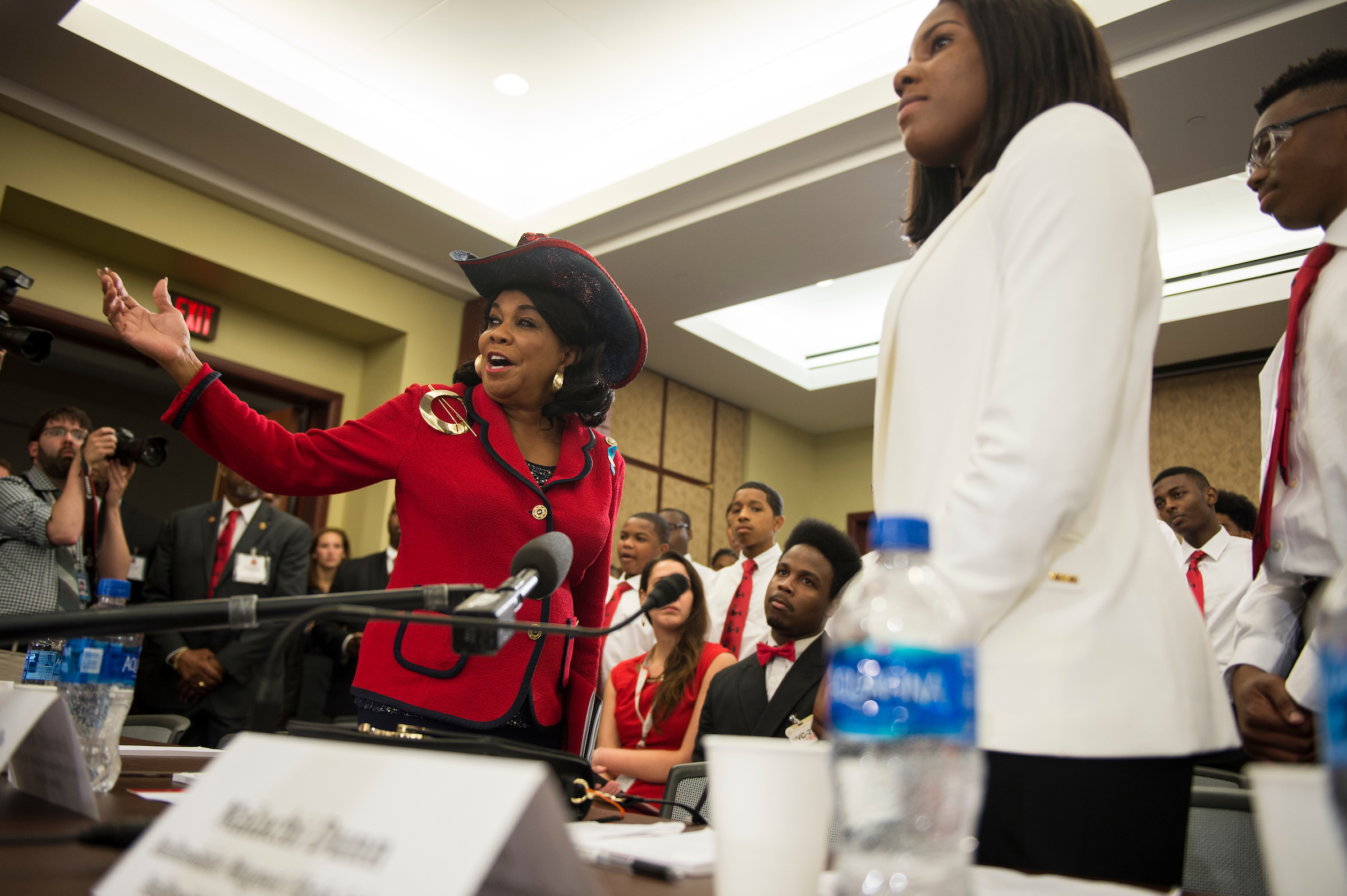 UNITED STATES - May 23: Rep. Frederica Wilson, D-Fla., welcomes students who have been effected by gun violence to The Gun Violence Prevention Task Force panel Wednesday afternoon May 23, 2018. (Photo by Sarah Silbiger/CQ Roll Call)