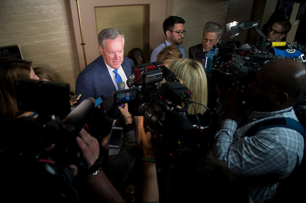 Rep. Mark Meadows, R-N.C., addresses the press before the House Republican Leadership Press Conference Tuesday morning May 22, 2018. (Photo By Sarah Silbiger/CQ Roll Call)