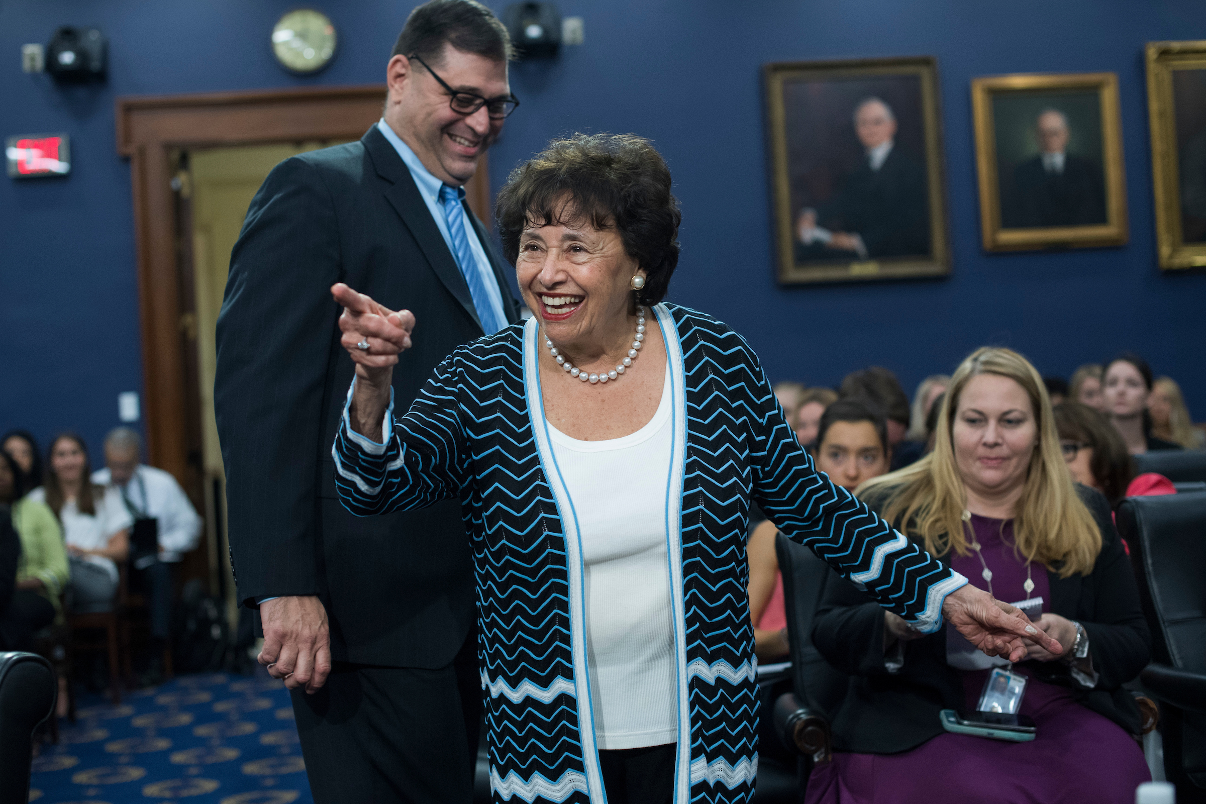"UNITED STATES - JUNE 27: Rep. Nita Lowey, D-N.Y., arrives for a House Appropriations State, Foreign Operations and Related Programs Subcommittee hearing in Rayburn Building on the ""United Nations and International Organizations FY2018 Budget"" on June 27, 2017. U.S. ambassador to the United Nations Nikki Haley, testified. (Photo By Tom Williams/CQ Roll Call)"