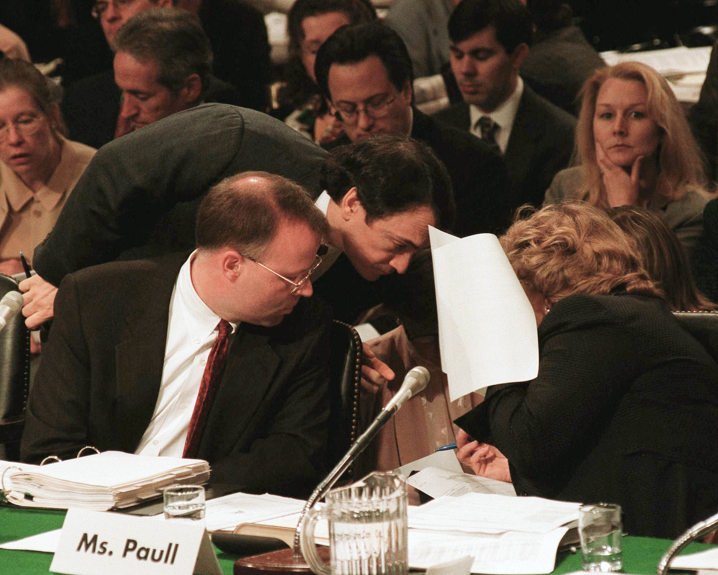 5/15/01.TAX CUT MARKUP--Russell W. Sullivan, minority tax counsel for Senate Finance, Mark Alan Prater, GOP chief tax counsel for Senate Finance, and Lindy Paull, chief of staff with the Joint Committee on Taxation, consult during the Senate Finance markup..CONGRESSIONAL QUARTERLY PHOTO BY SCOTT J. FERRELL